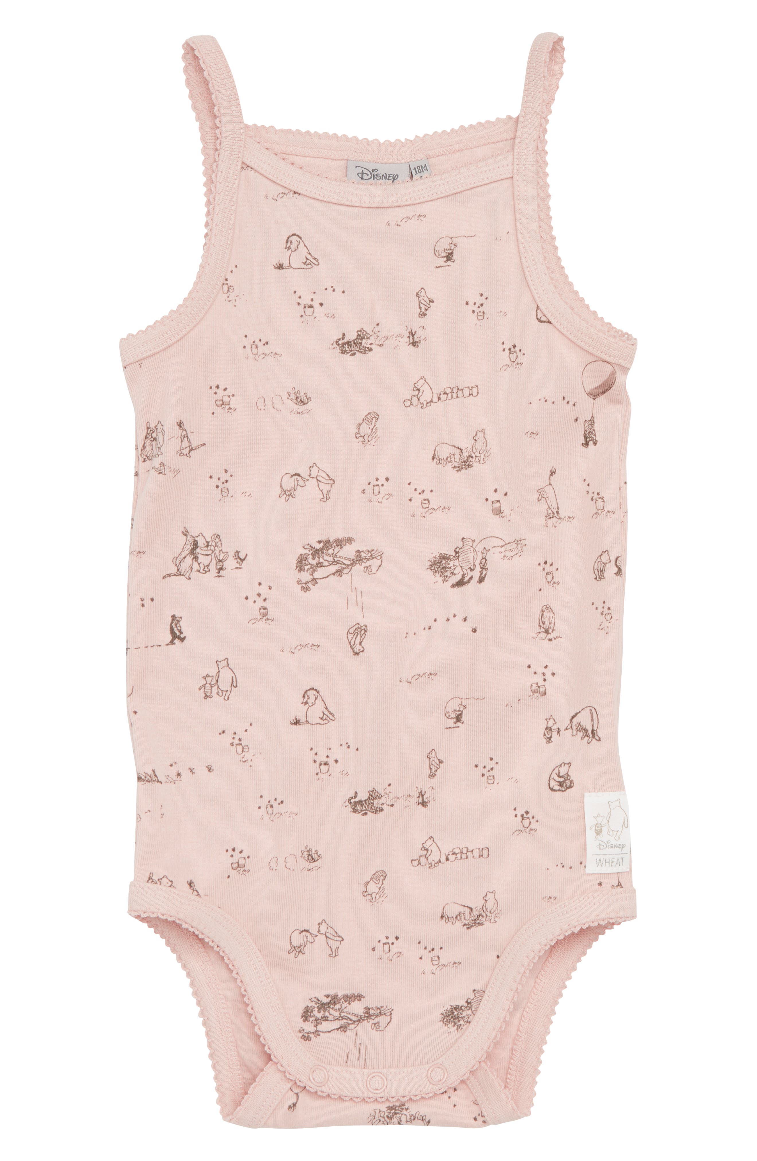 x Disney<sup>®</sup> Winnie the Pooh Organic Cotton Bodysuit,                         Main,                         color, Powder
