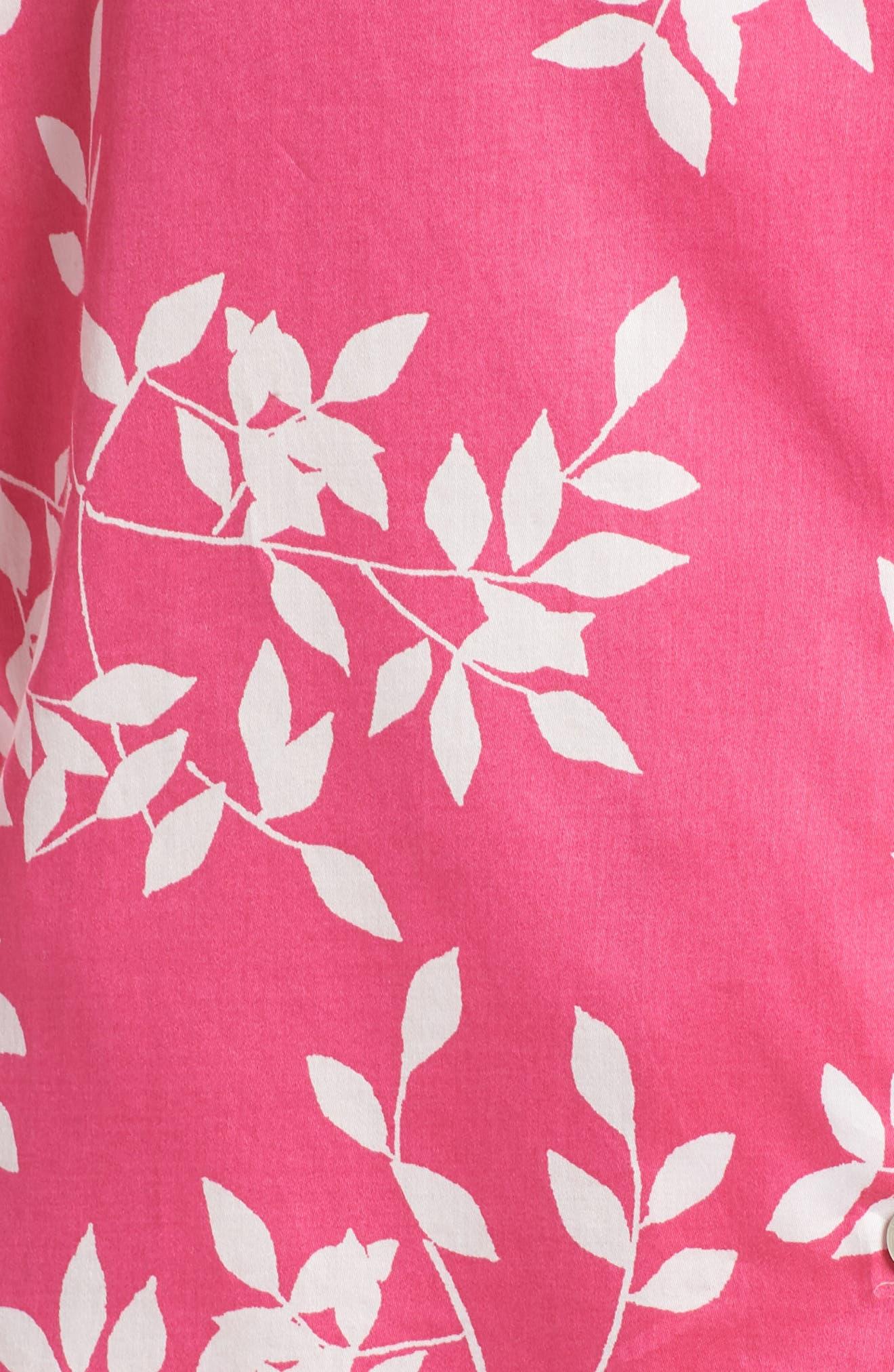 Branch Print Cotton Sateen Short Pajamas,                             Alternate thumbnail 6, color,                             Hibiscus Pink