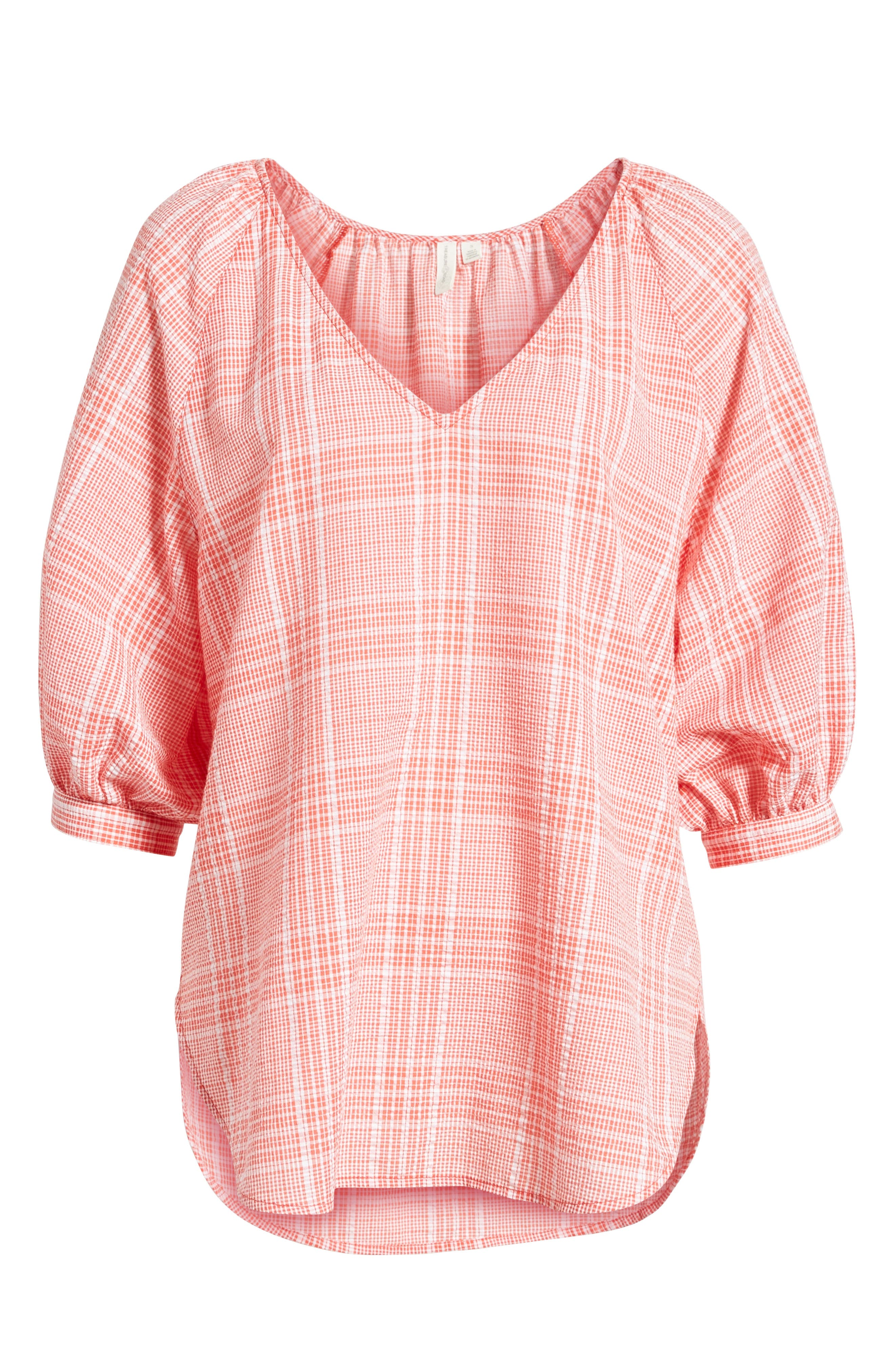 Puff Sleeve Gingham Top,                         Main,                         color, Coral Hot Big Glen