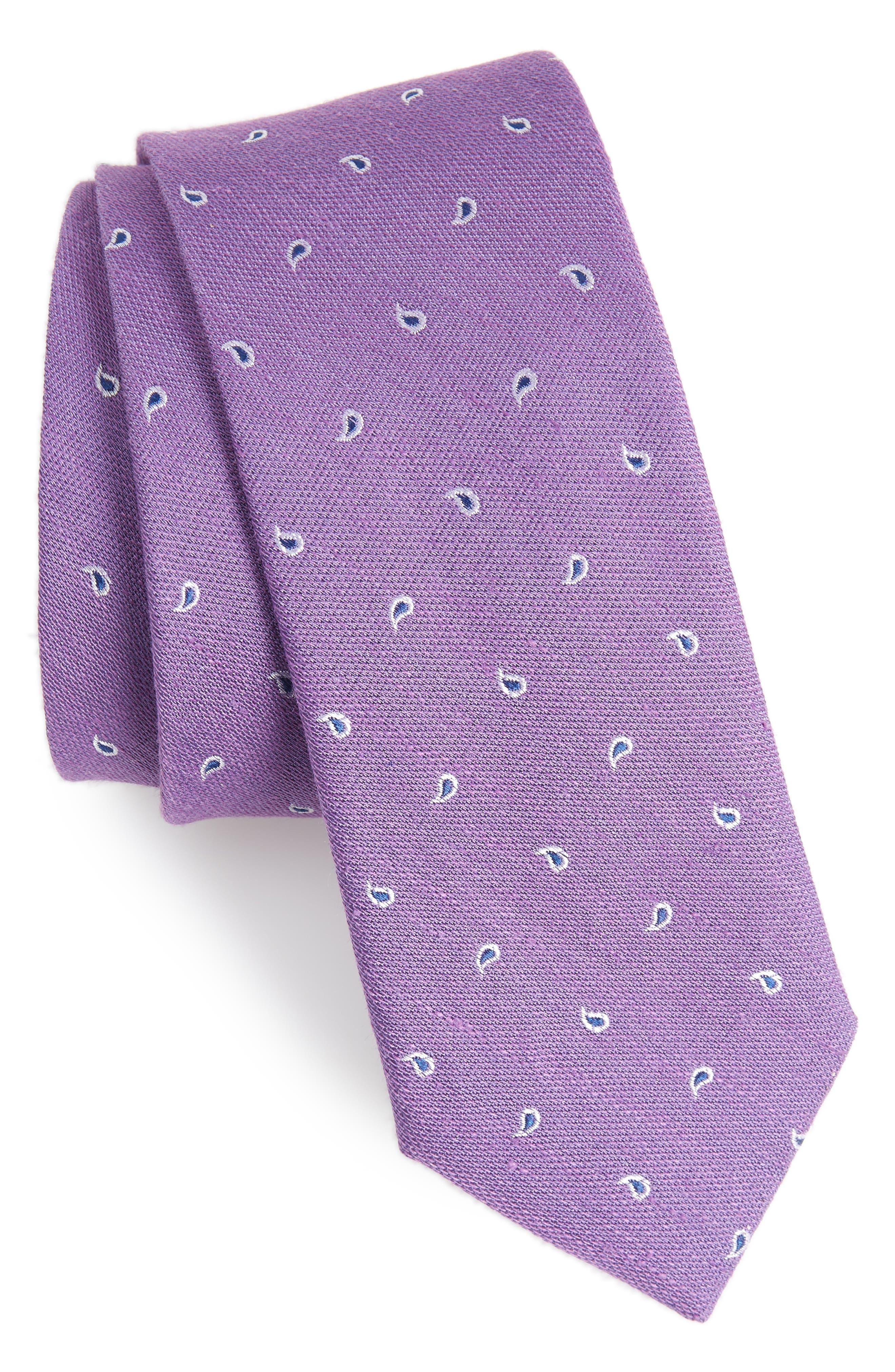 Budding Paisley Silk & Linen Tie,                         Main,                         color, Violet