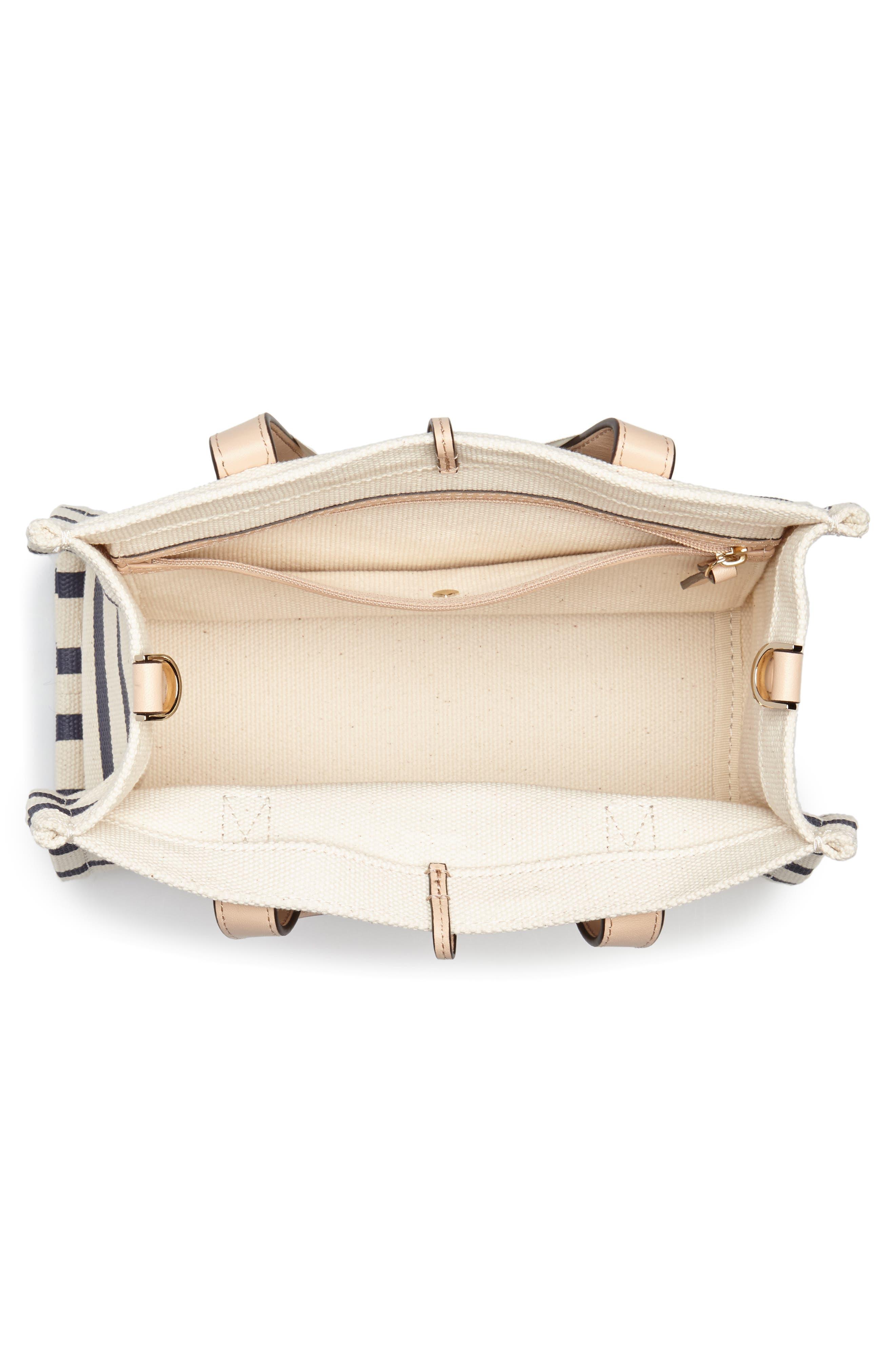 washington square - sam canvas handbag,                             Alternate thumbnail 4, color,                             Rich Navy Stripe