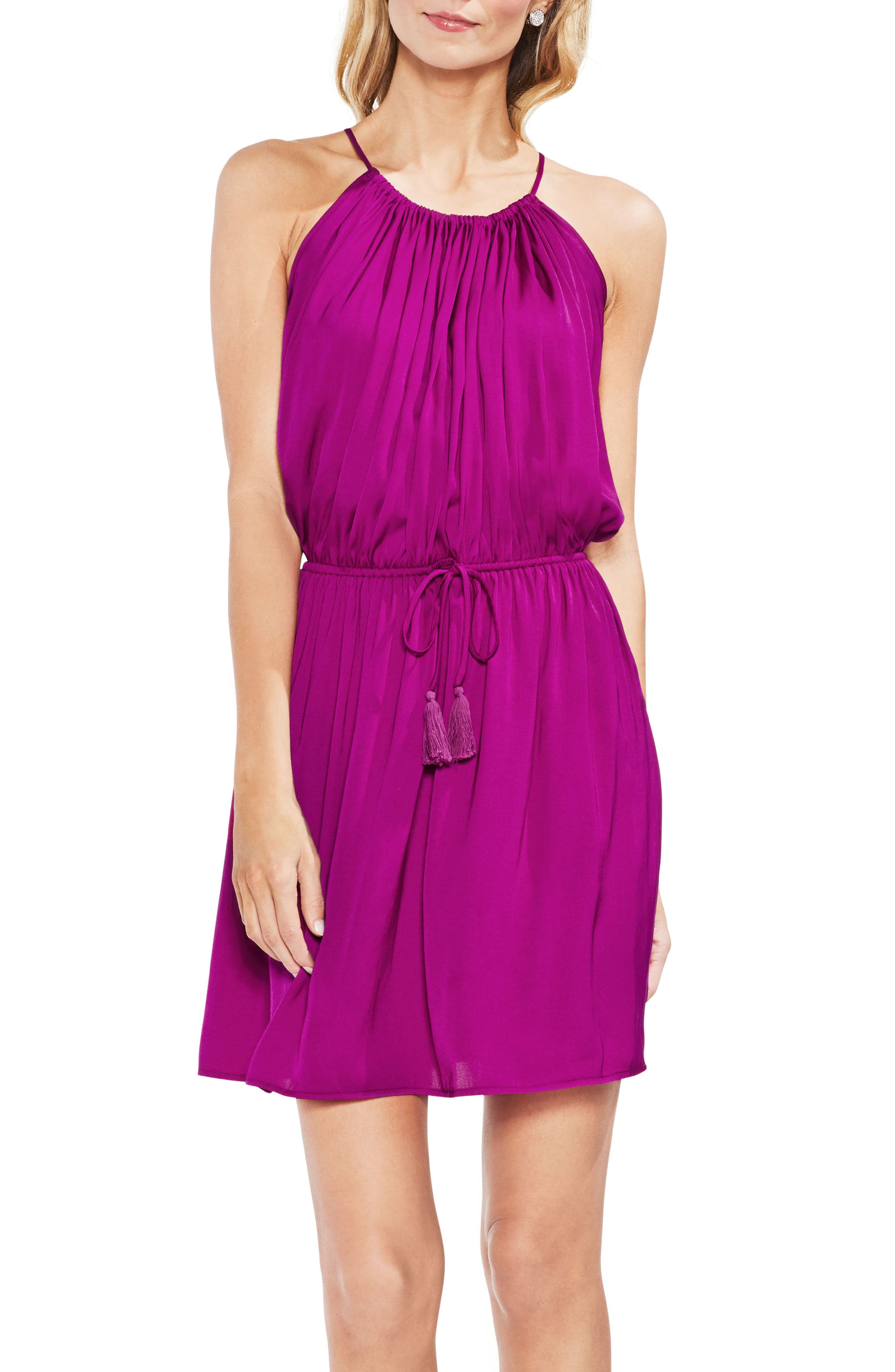 Drawstring Waist Dress,                             Main thumbnail 1, color,                             Fuchsia Fury