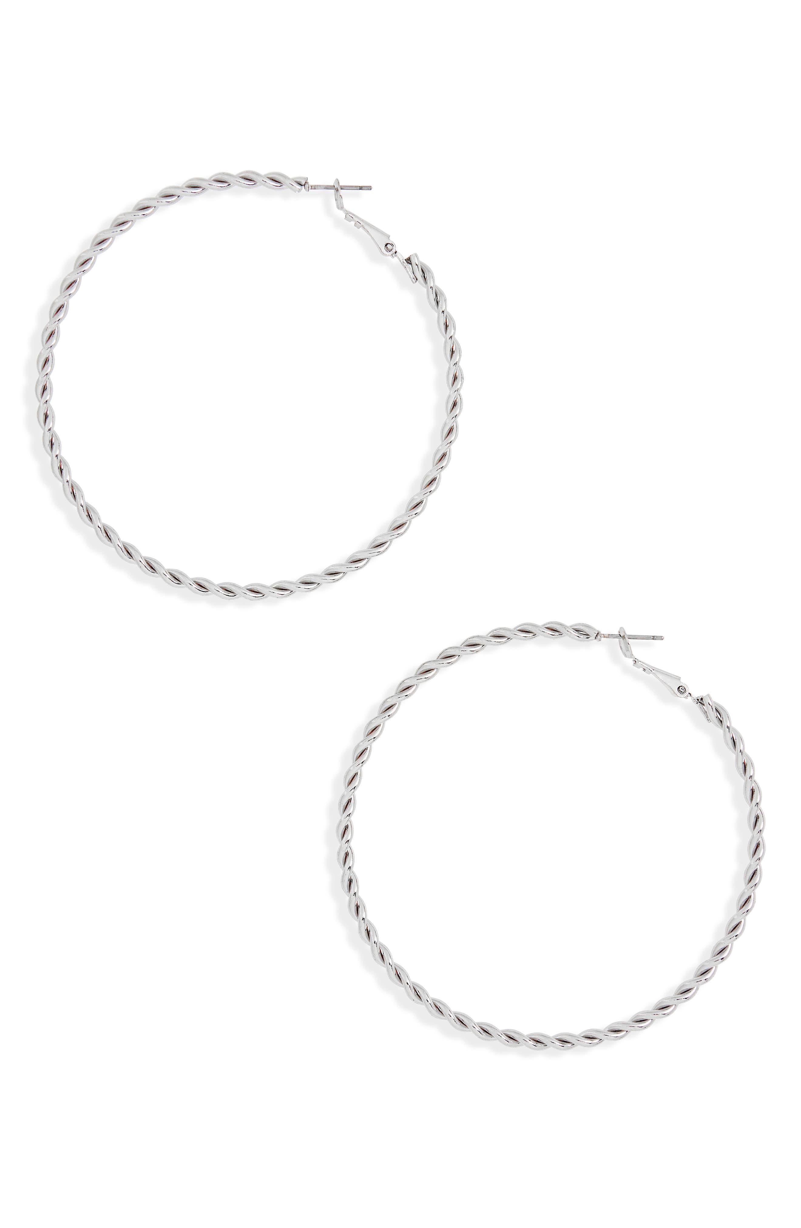 Twisted Hoop Earrings,                             Main thumbnail 1, color,                             Silver