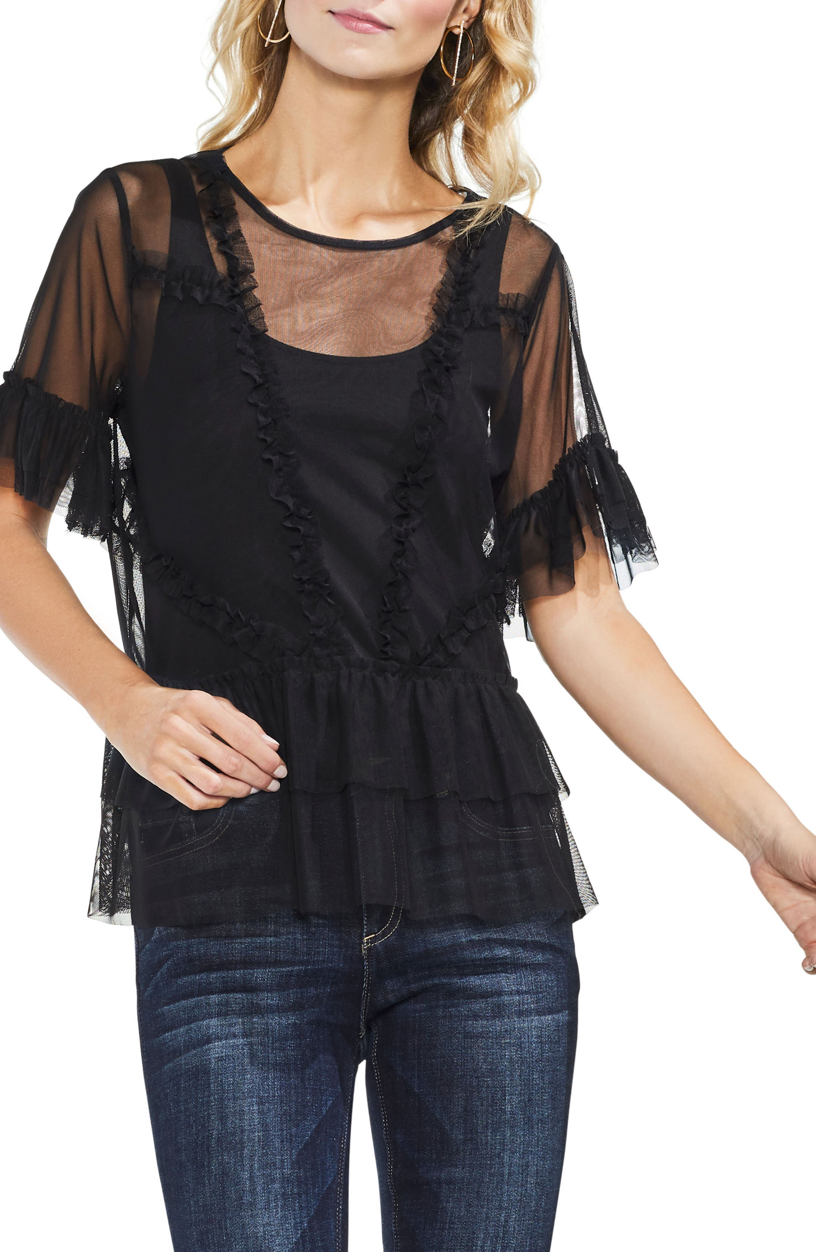 Tiered Ruffle Mesh Blouse,                         Main,                         color, Rich Black