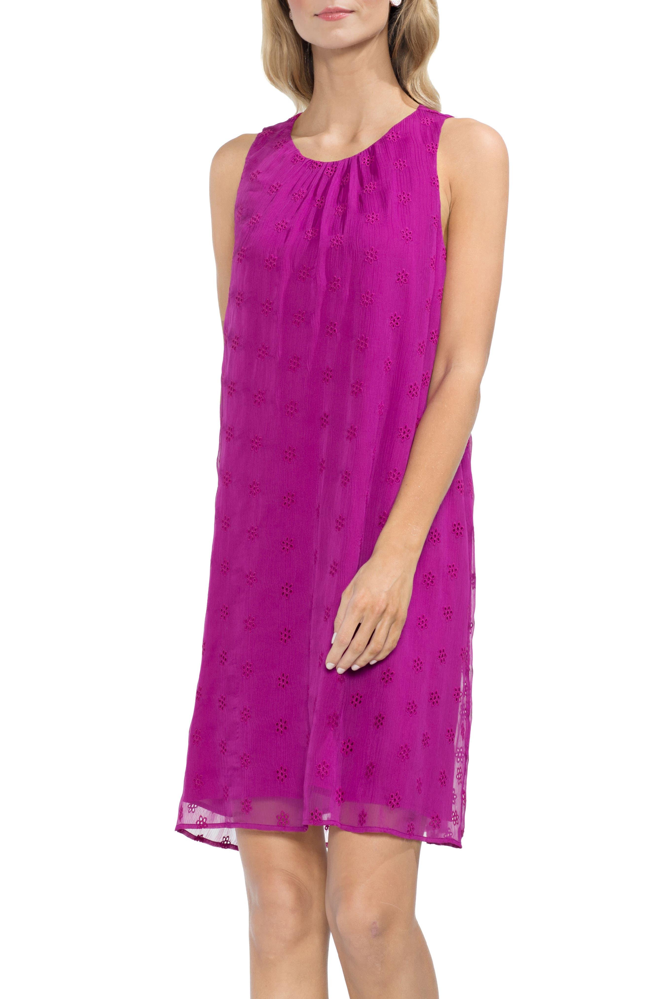 Eyelet Shift Dress,                         Main,                         color, Fuchsia Fury