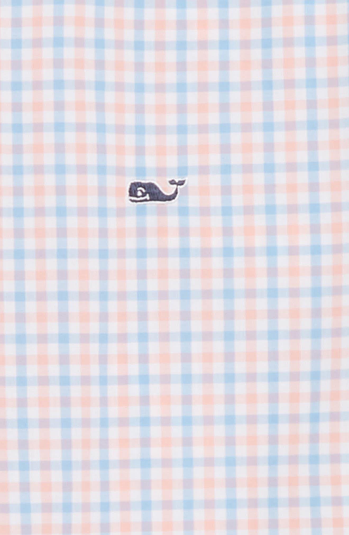 Winding Bay Gingham Woven Shirt,                             Alternate thumbnail 2, color,                             Bright Peach