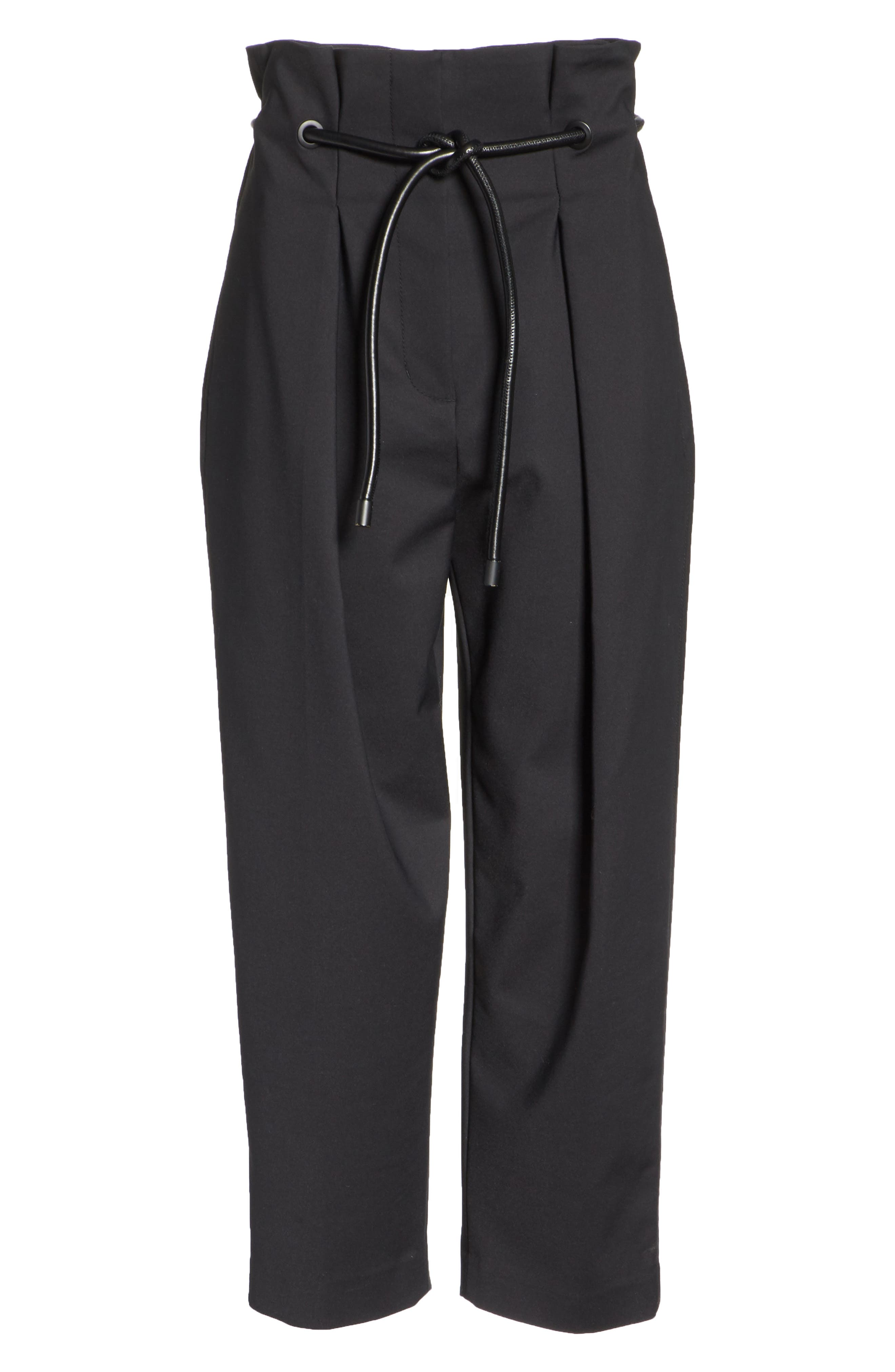 Origami Crop Flare Pants,                             Alternate thumbnail 6, color,                             Black