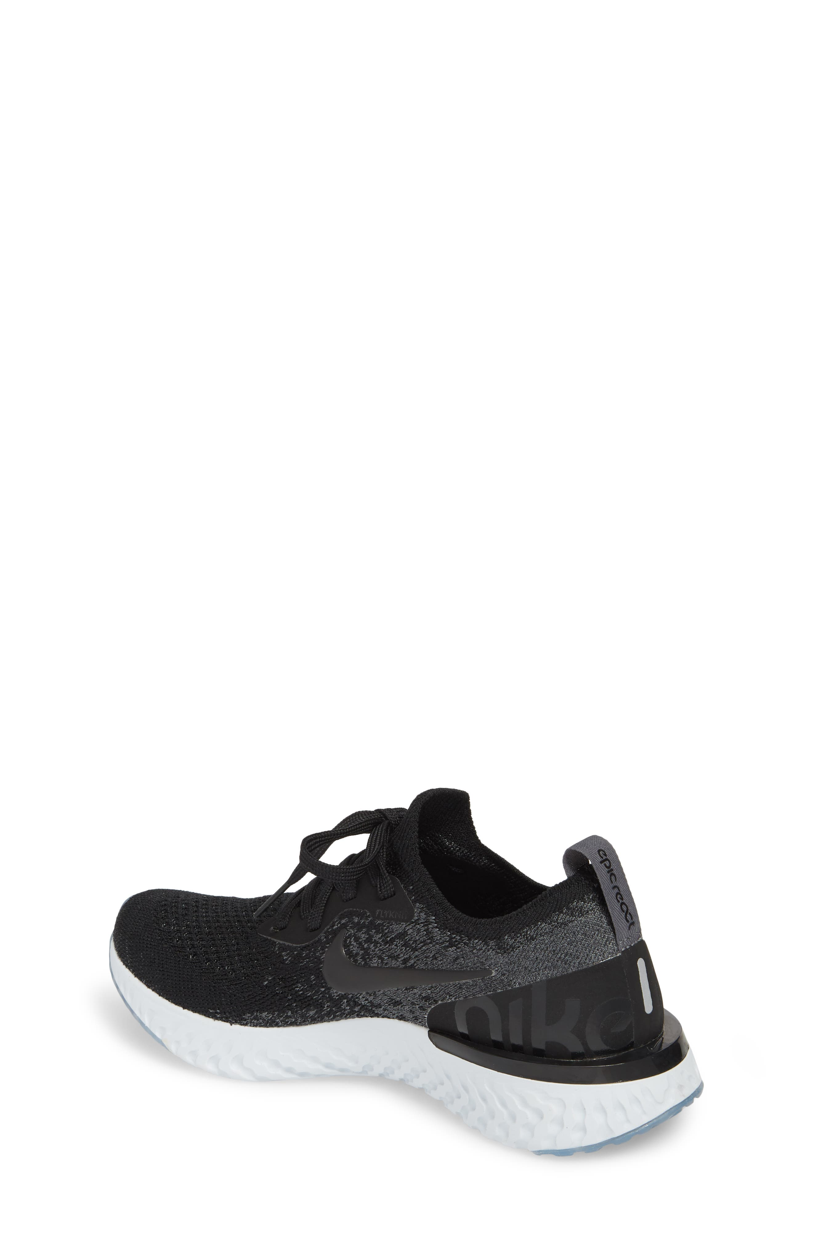 Epic React Flyknit Running Shoe,                             Alternate thumbnail 2, color,                             Black/ Grey/ Pure Platinum