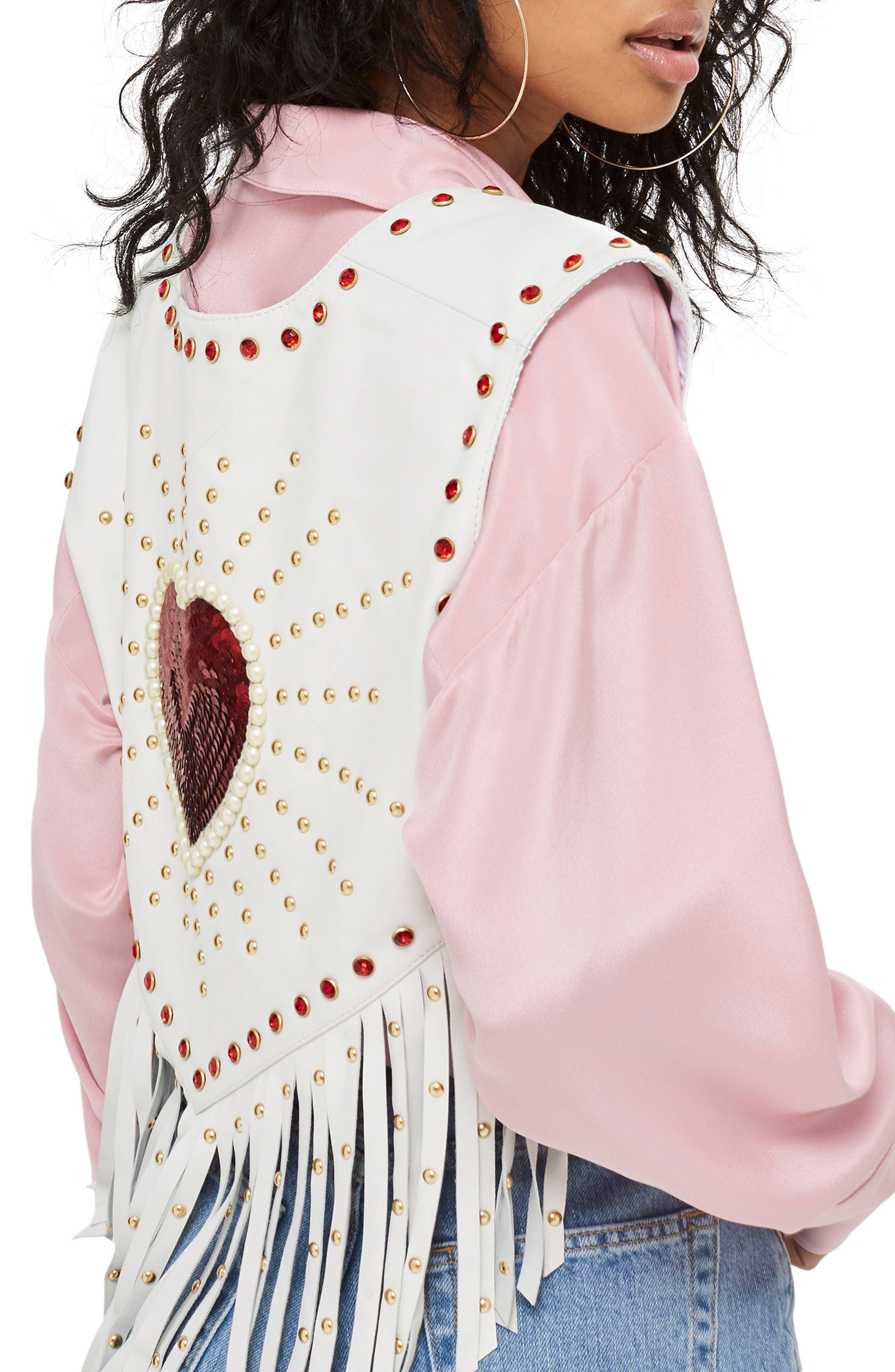 Sacred Heart Festival Leather Waistcoat,                             Alternate thumbnail 3, color,                             White Multi
