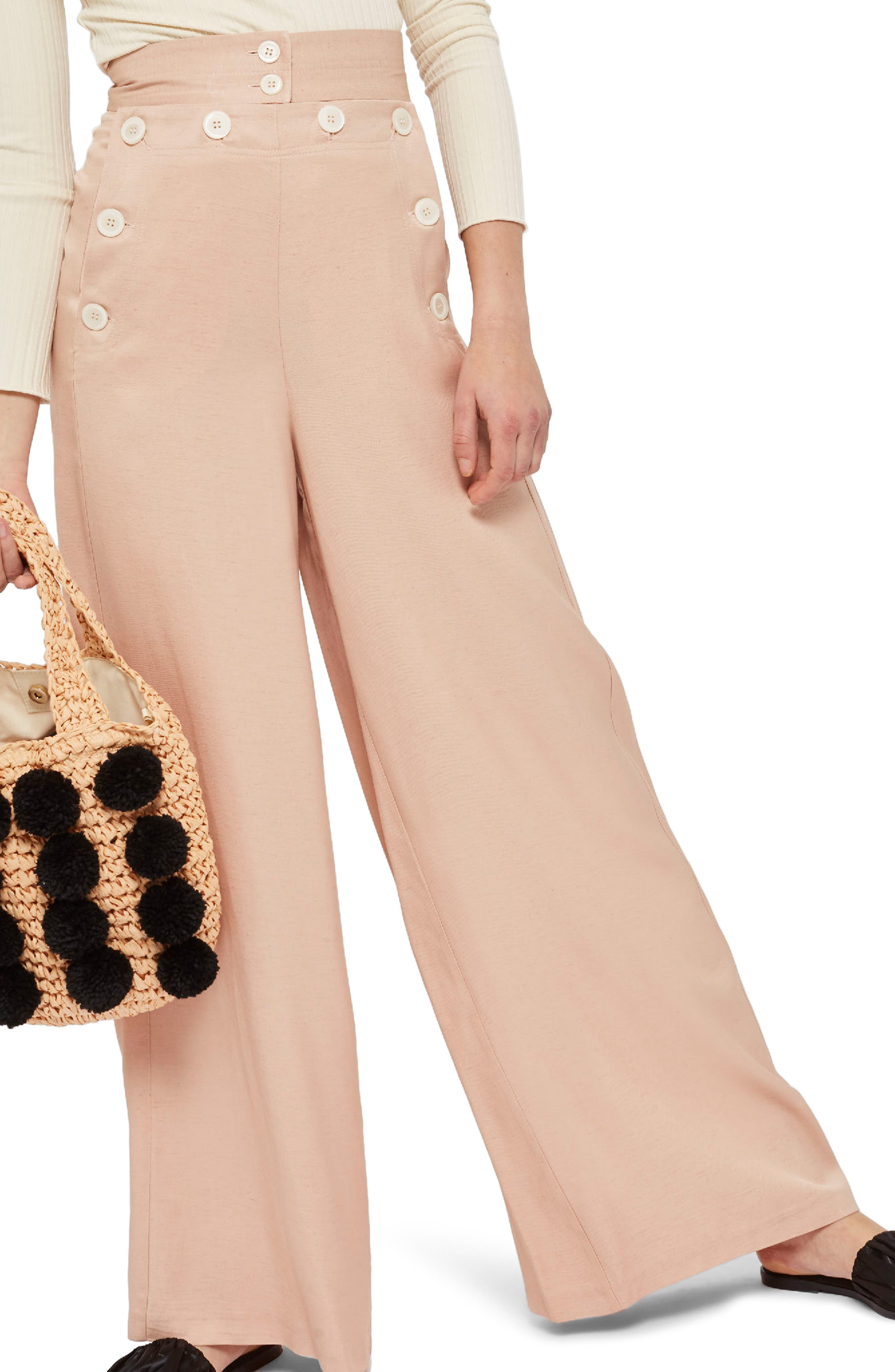 Wide Leg Sailor Trousers,                             Main thumbnail 1, color,                             Pink