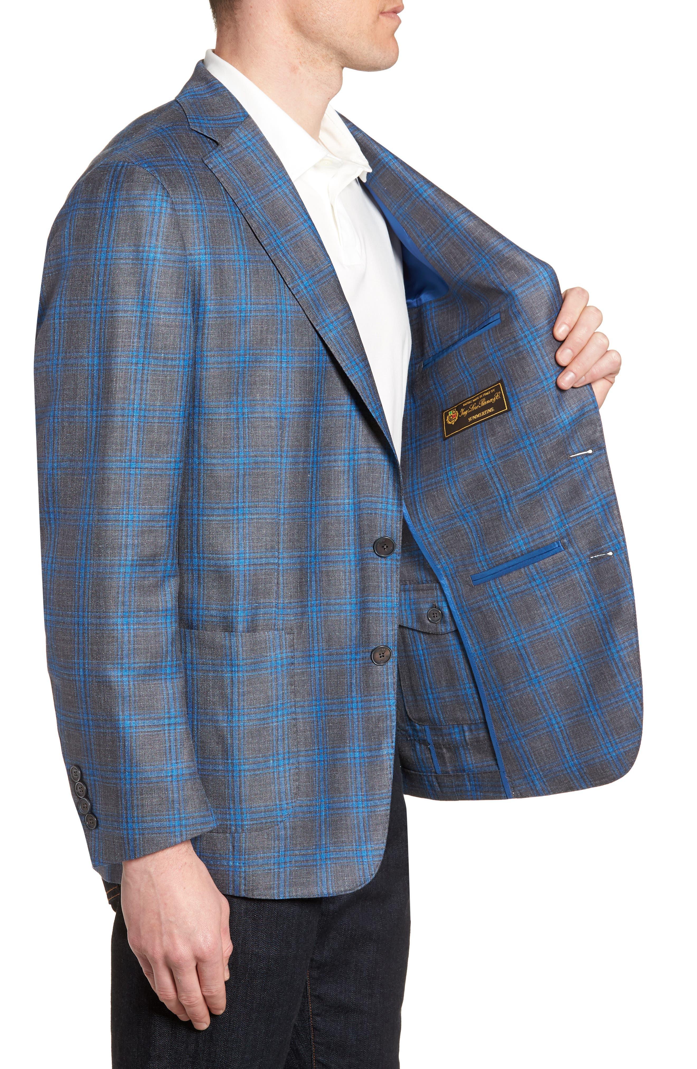 Marina Windowpane Wool & Silk Blend Sport Coat,                             Alternate thumbnail 3, color,                             Onda Blue