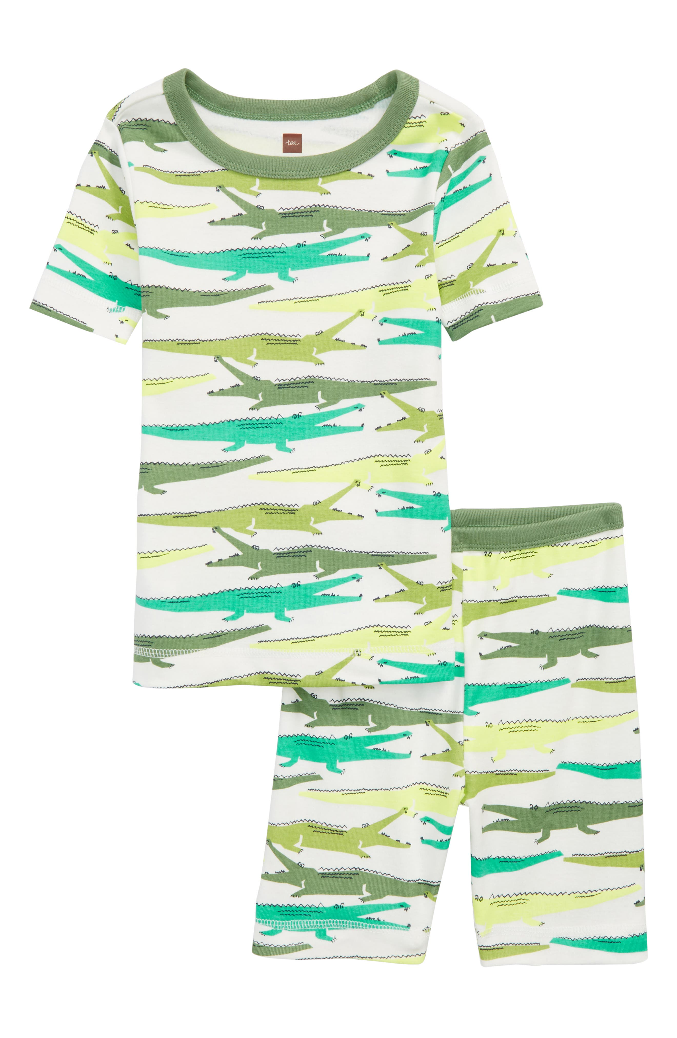 Print Fitted Two-Piece Pajamas,                         Main,                         color, Alligators
