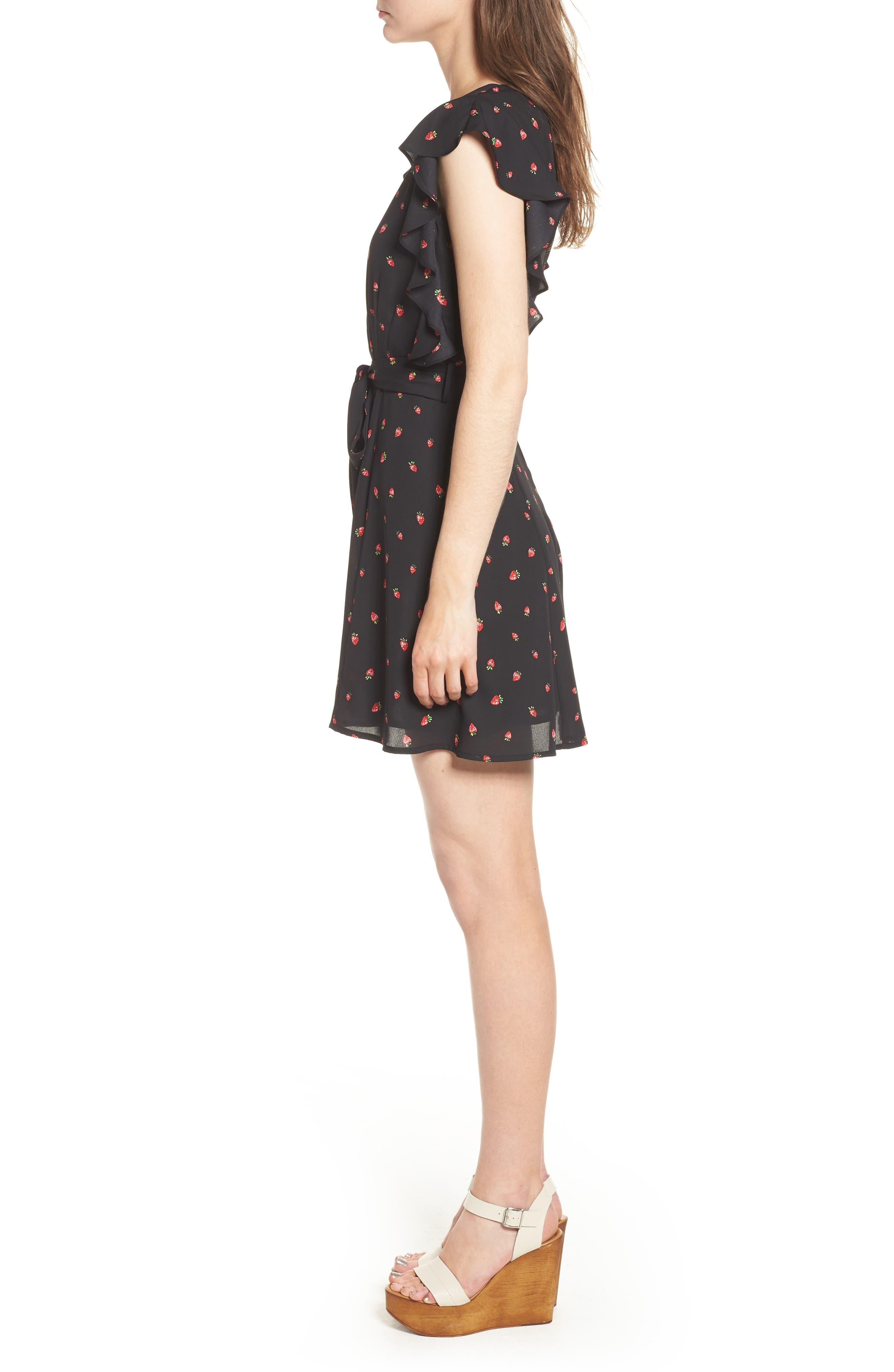 Ruffle Sleeve Dress,                             Alternate thumbnail 3, color,                             Strawberry Print