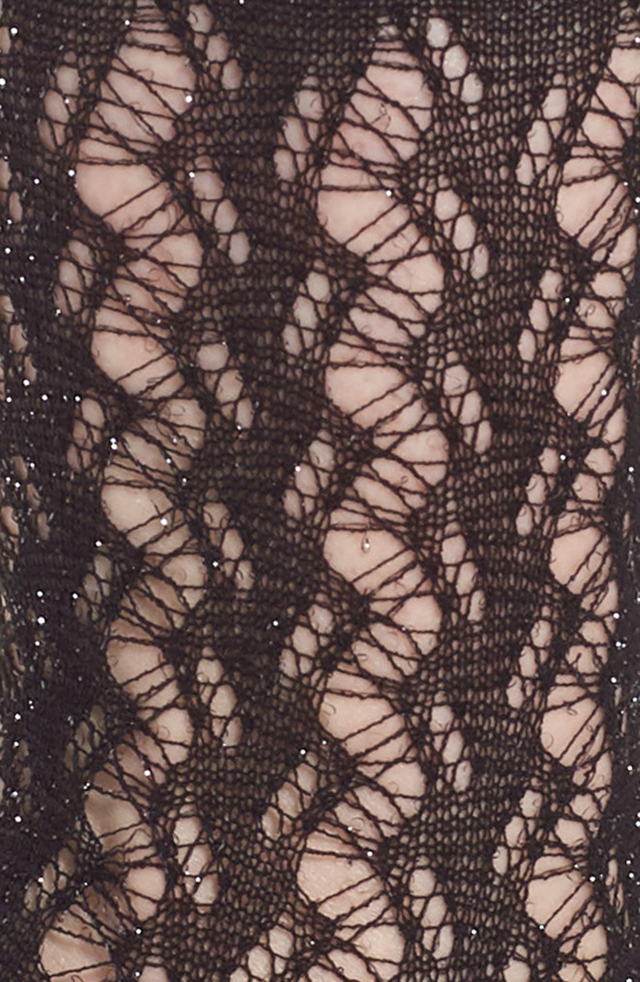 Calzino Glitter Fishnet Trouser Socks,                             Alternate thumbnail 2, color,                             Black