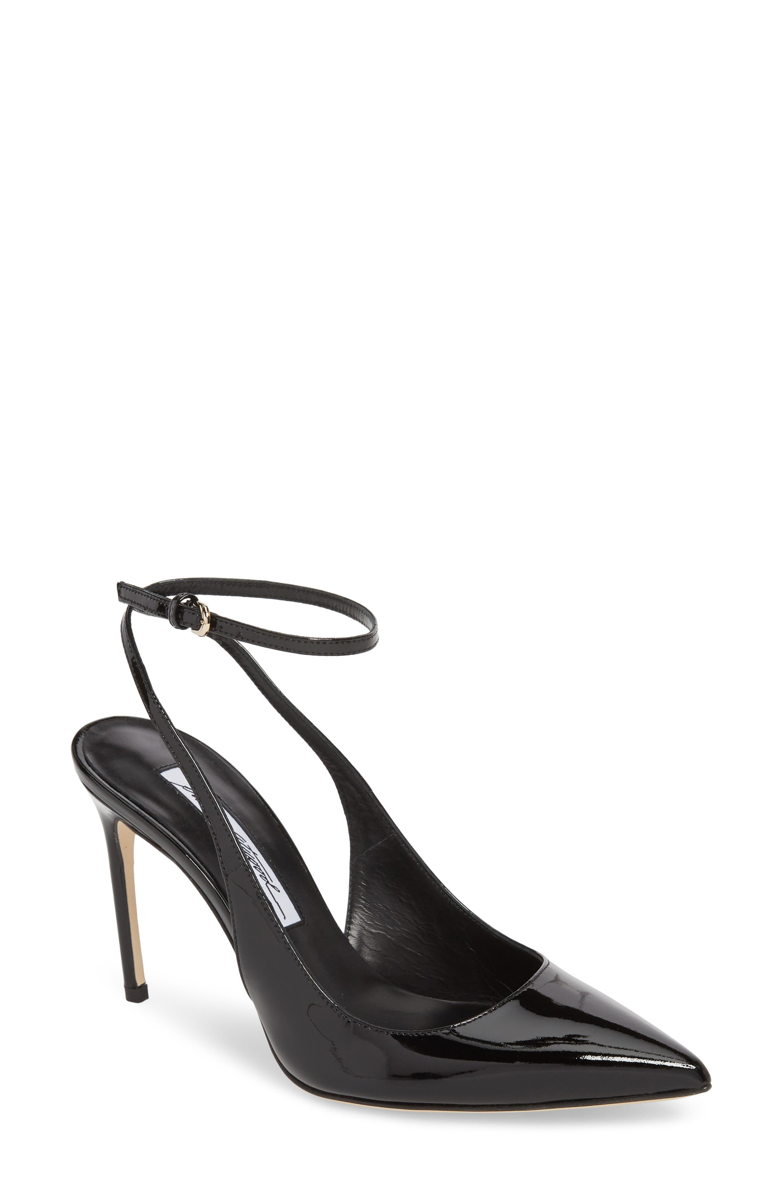 BRIAN ATWOOD Vicky Wraparound Pump in Black Patent