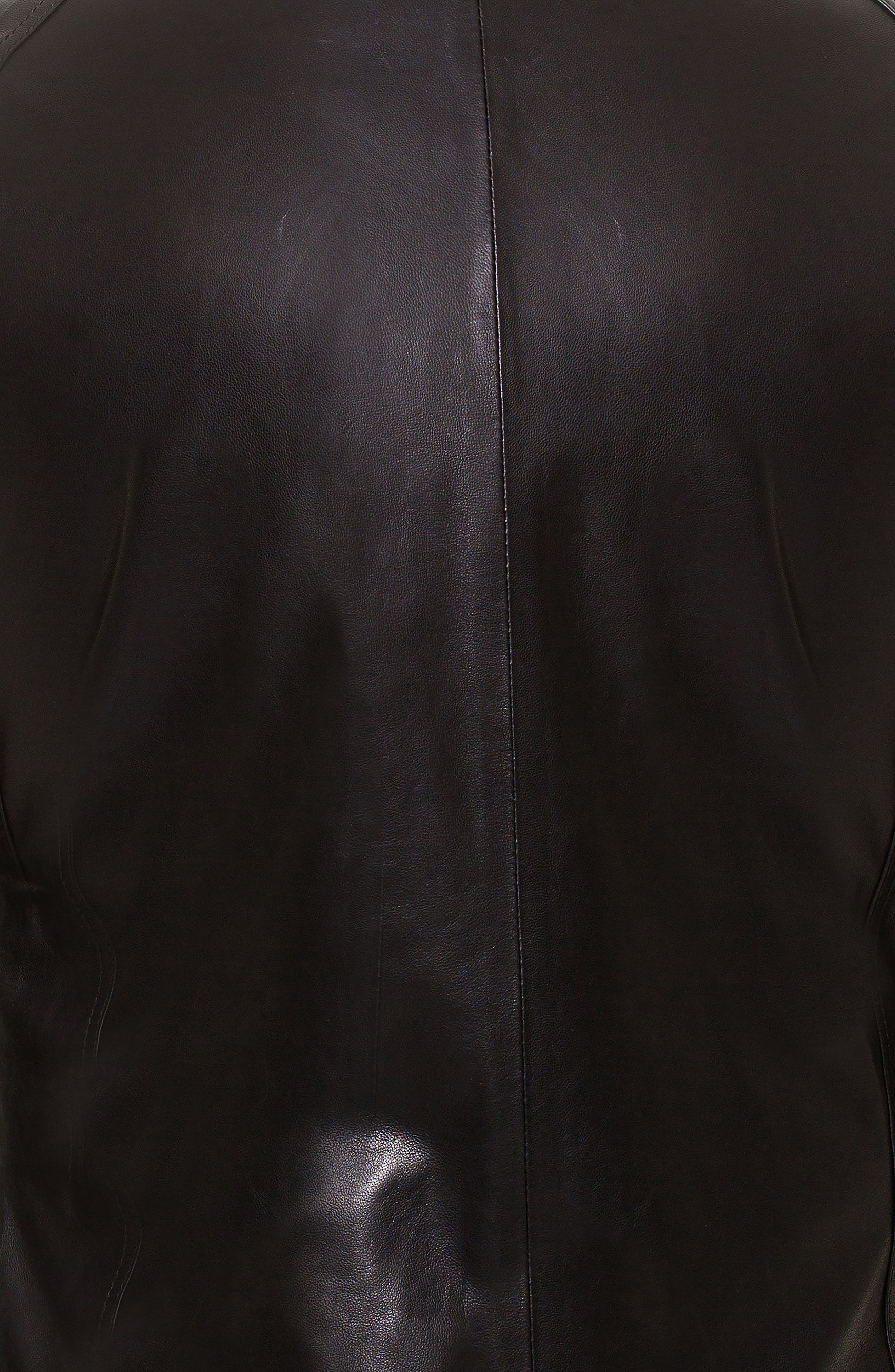 Collared Leather Jacket,                             Alternate thumbnail 3, color,                             Black