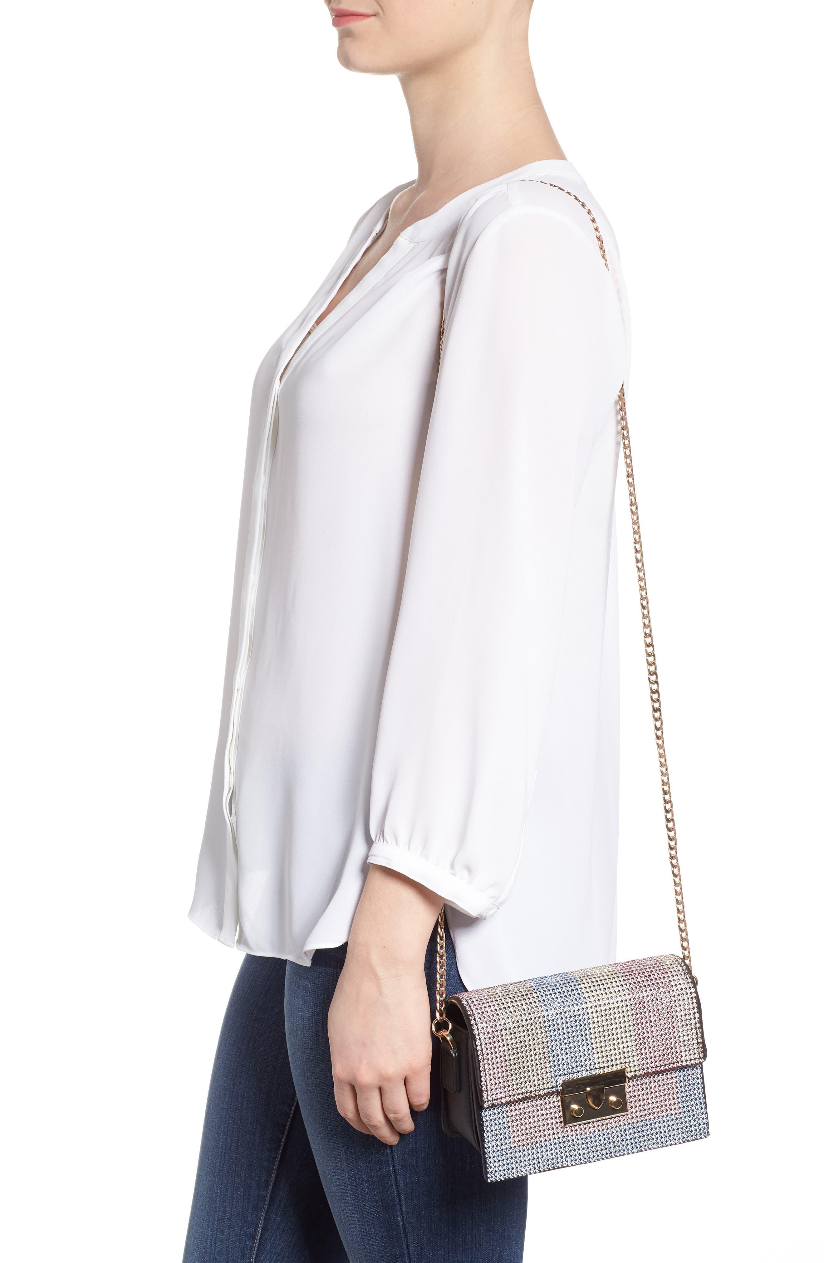 Rosie Diamante Rainbow Crossbody Bag,                             Alternate thumbnail 2, color,                             Black Multi