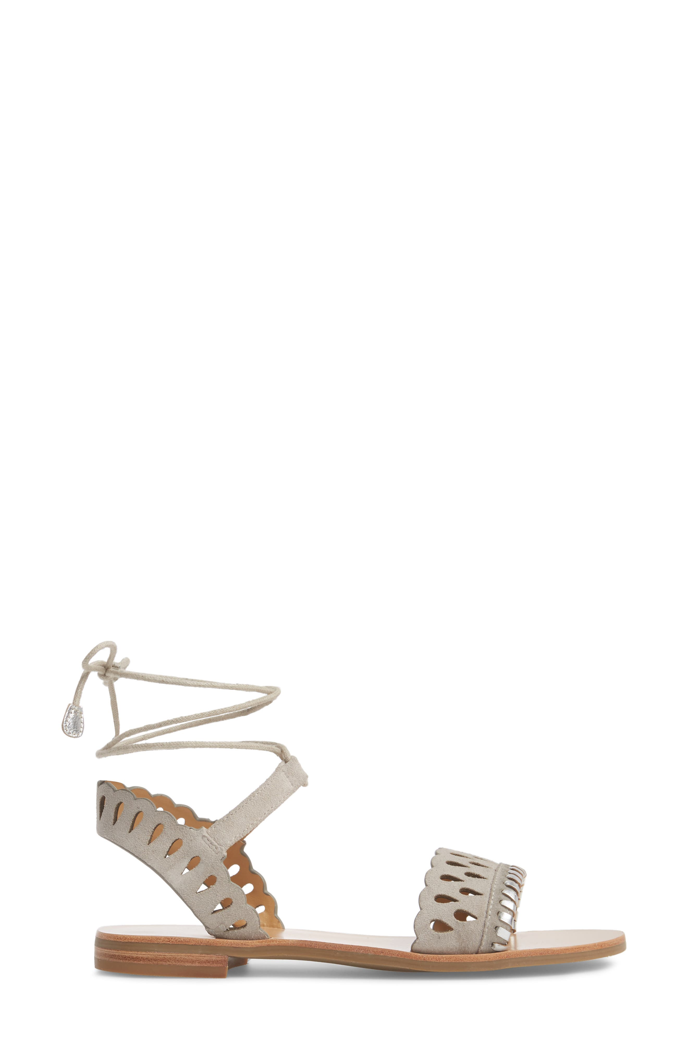Ruby Perforated Sandal,                             Alternate thumbnail 3, color,                             Dove Grey Suede