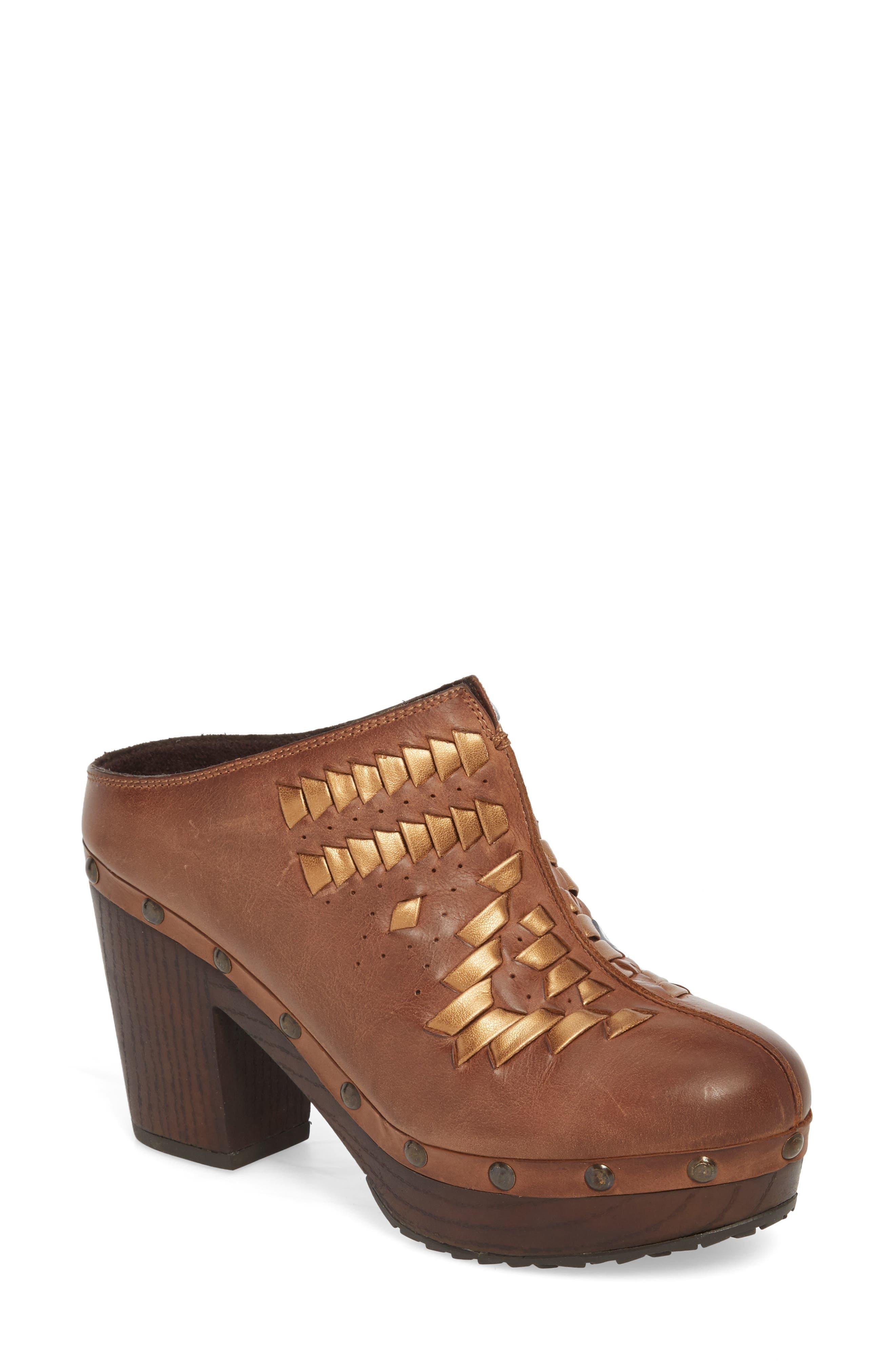 Bria Platform Clog,                         Main,                         color, Bronzed Brown Leather