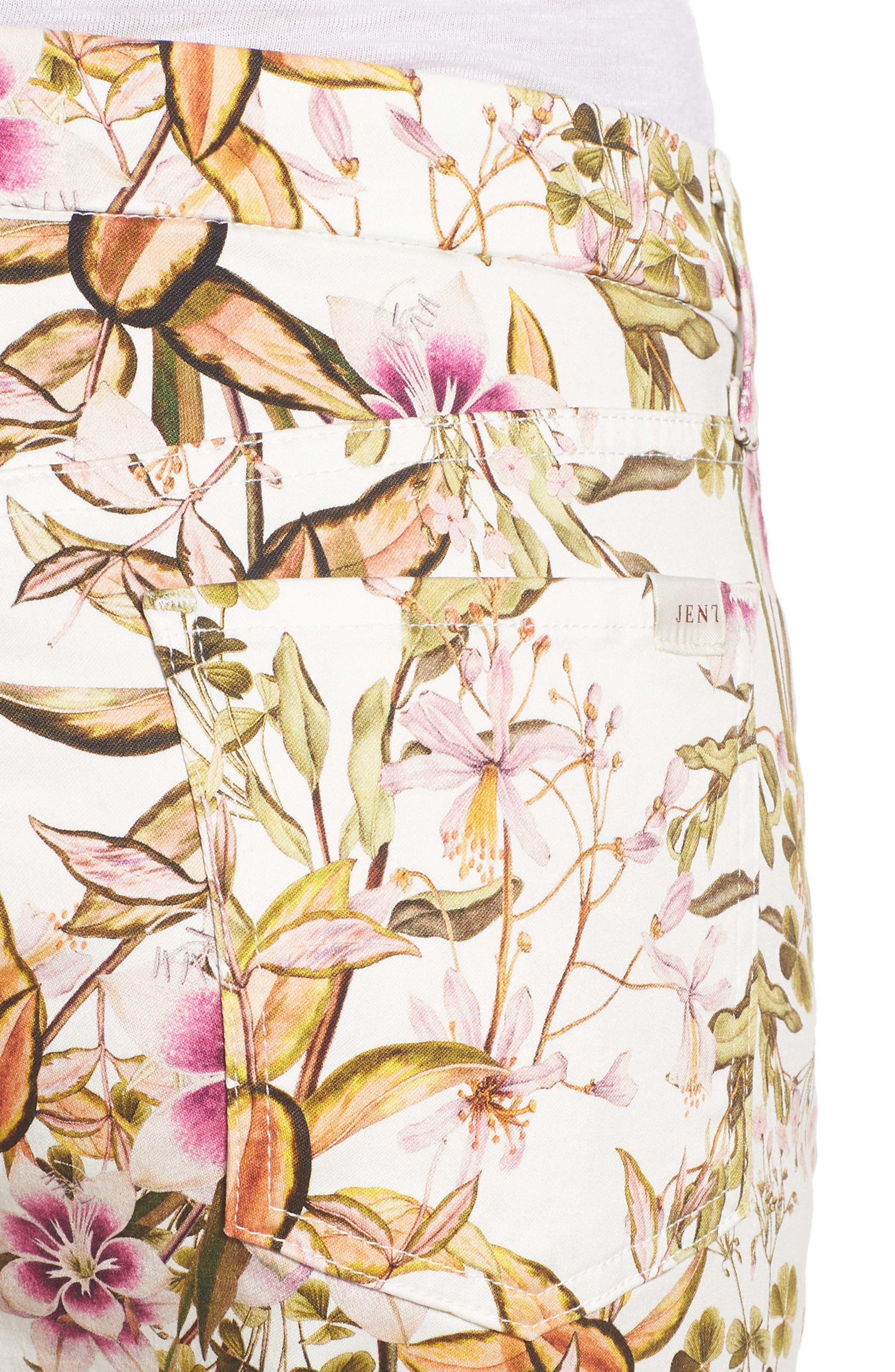 Floral Print Ankle Skinny Jeans,                             Alternate thumbnail 4, color,                             Havana Tropics