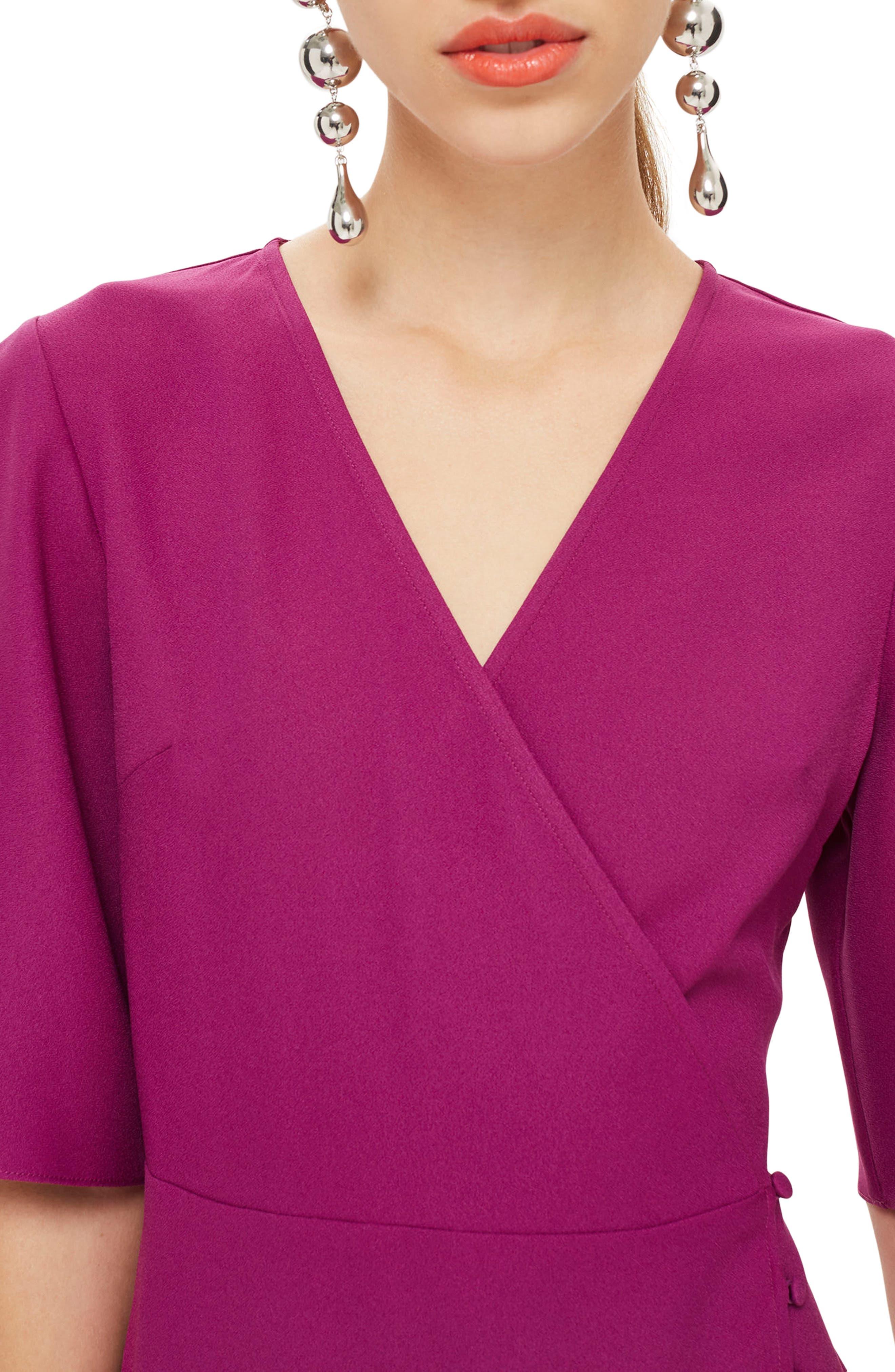 Ruffle Minidress,                             Alternate thumbnail 3, color,                             Bright Pink