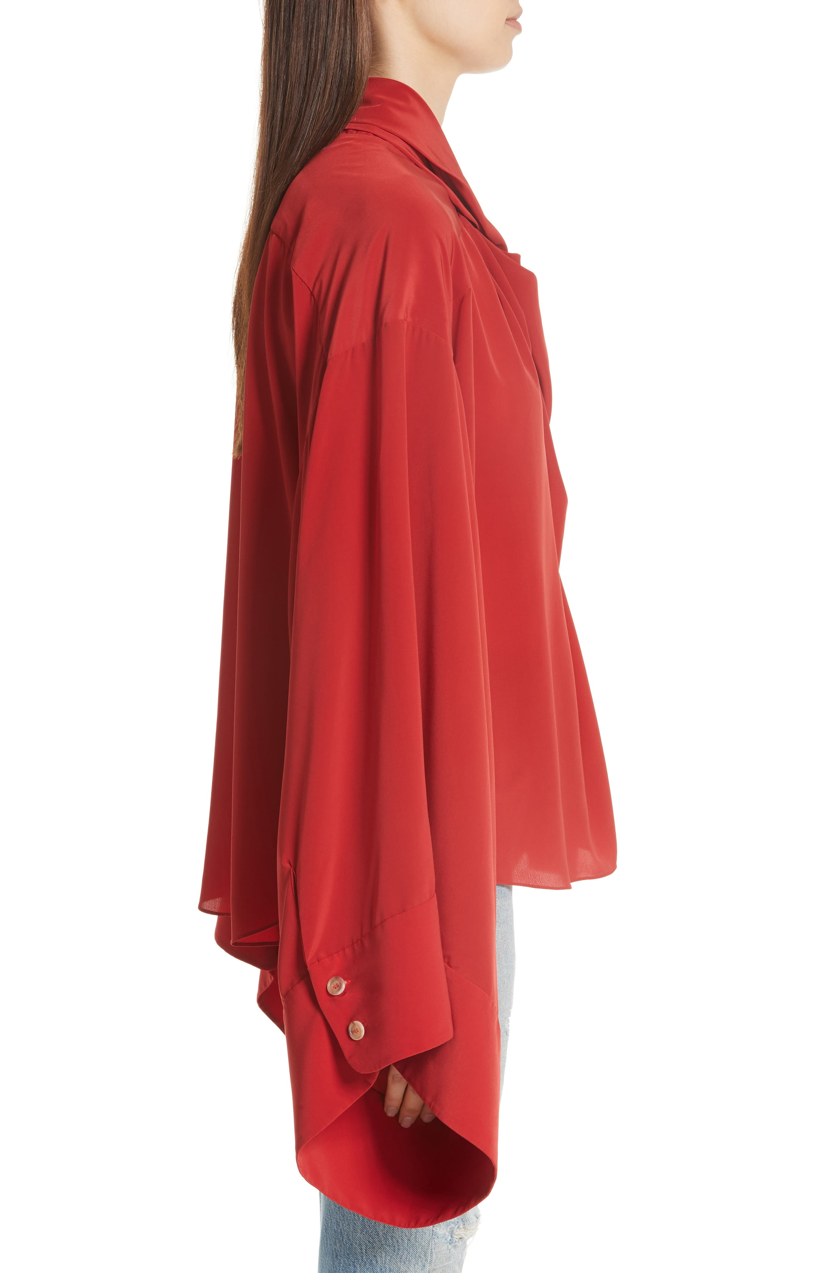 Kimono Sleeve Blouse,                             Alternate thumbnail 3, color,                             Red