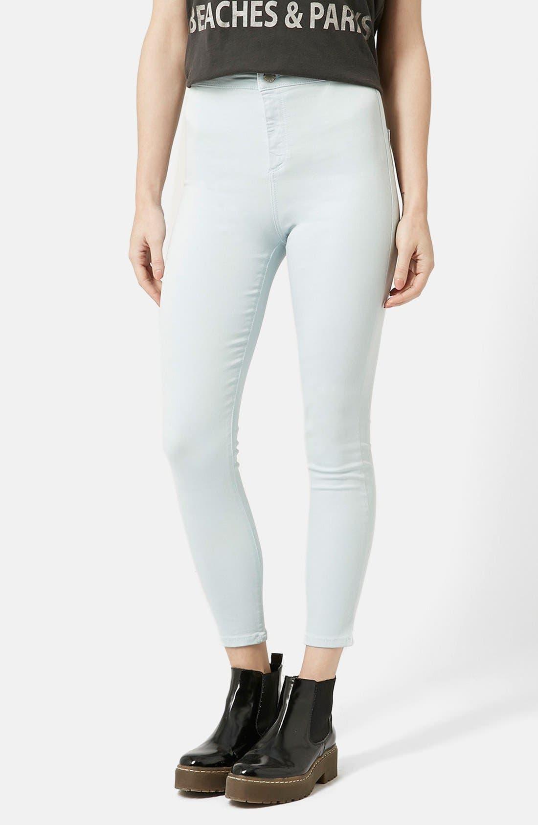 Main Image - Topshop Moto 'Joni' High Rise Jeans (Light Blue) (Regular & Short)