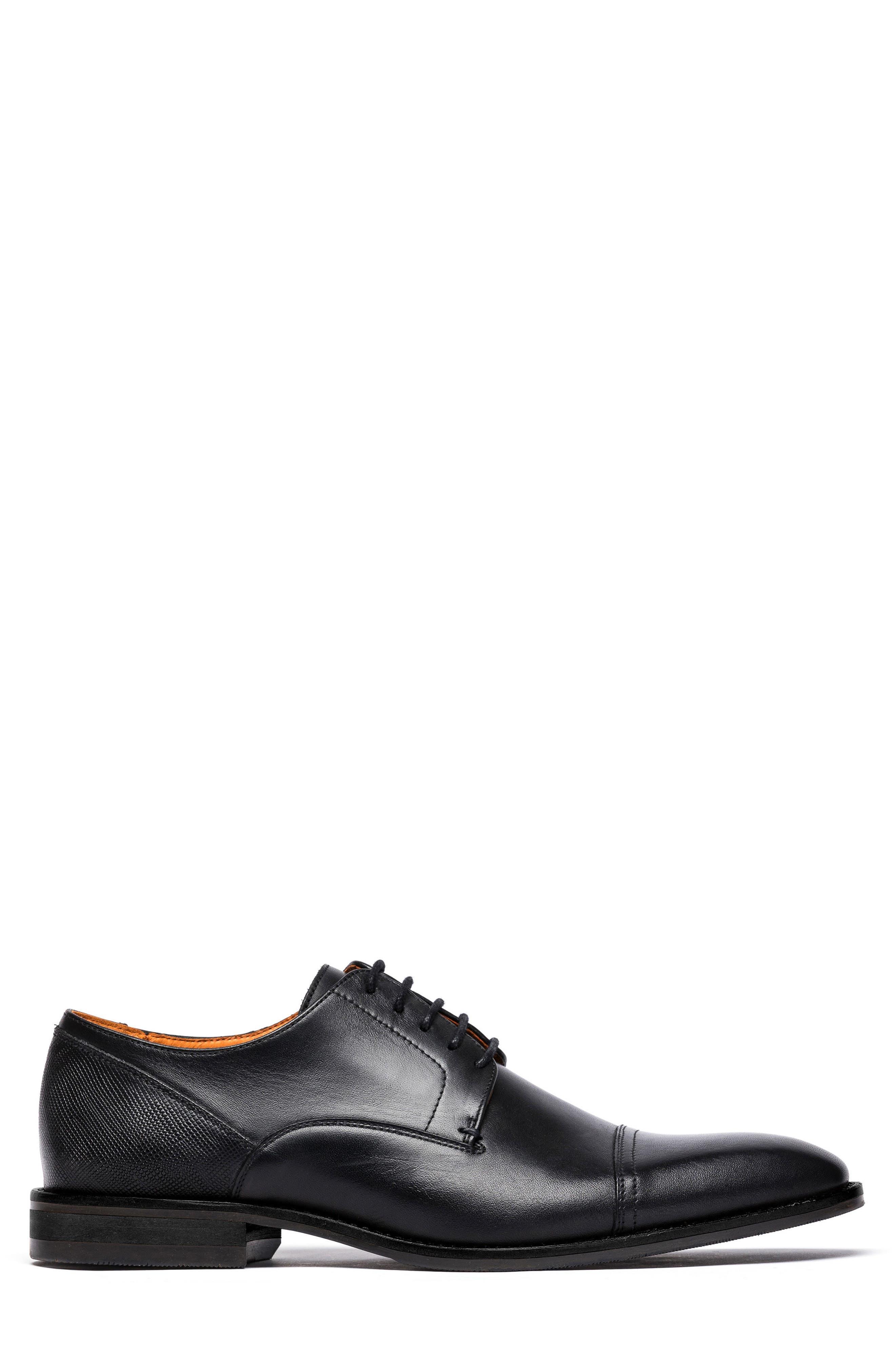 Franklin Cap Toe Derby,                             Alternate thumbnail 3, color,                             Nero Leather