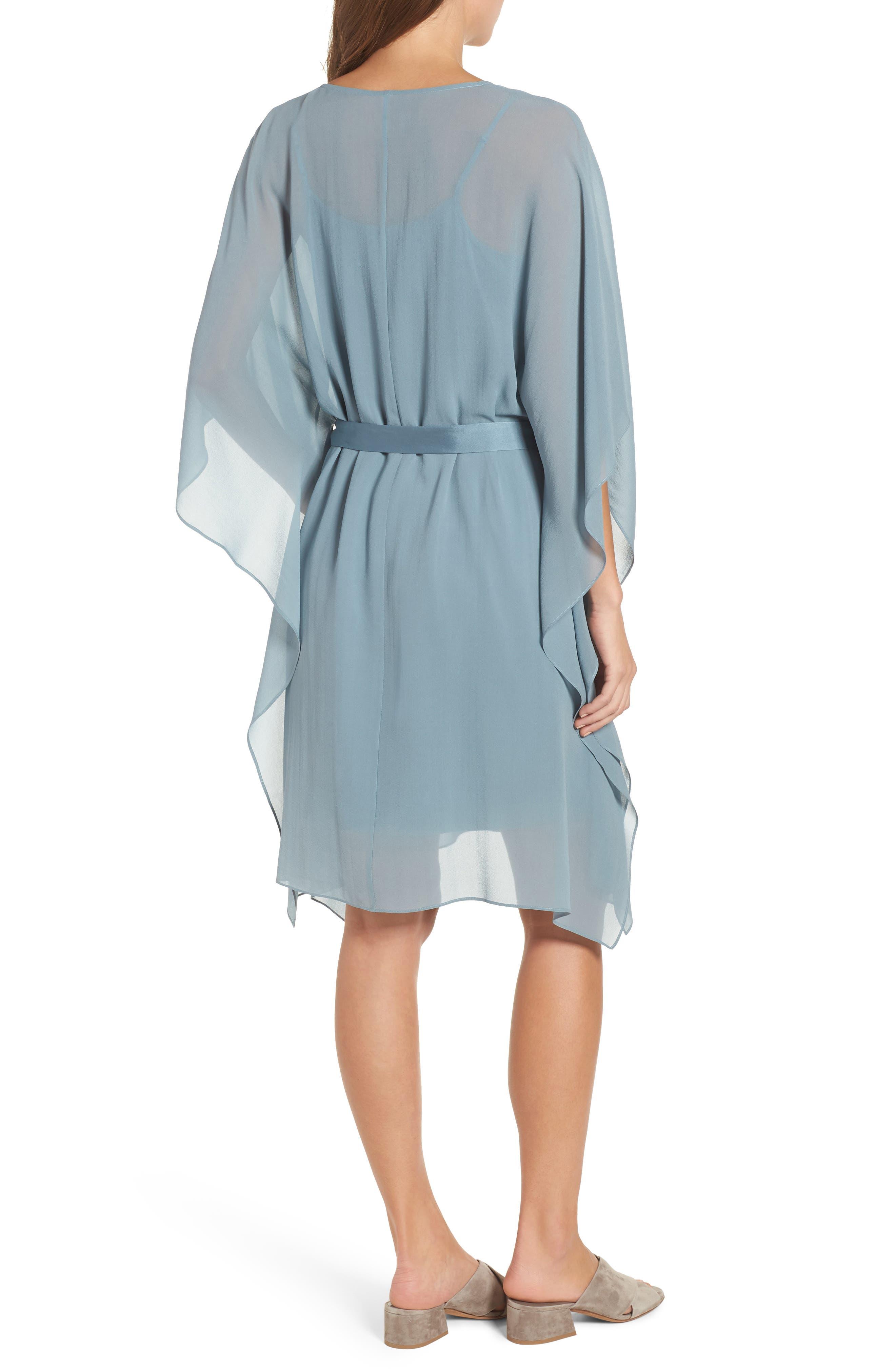 Belted Caftan Dress,                             Alternate thumbnail 2, color,                             Blue Steel