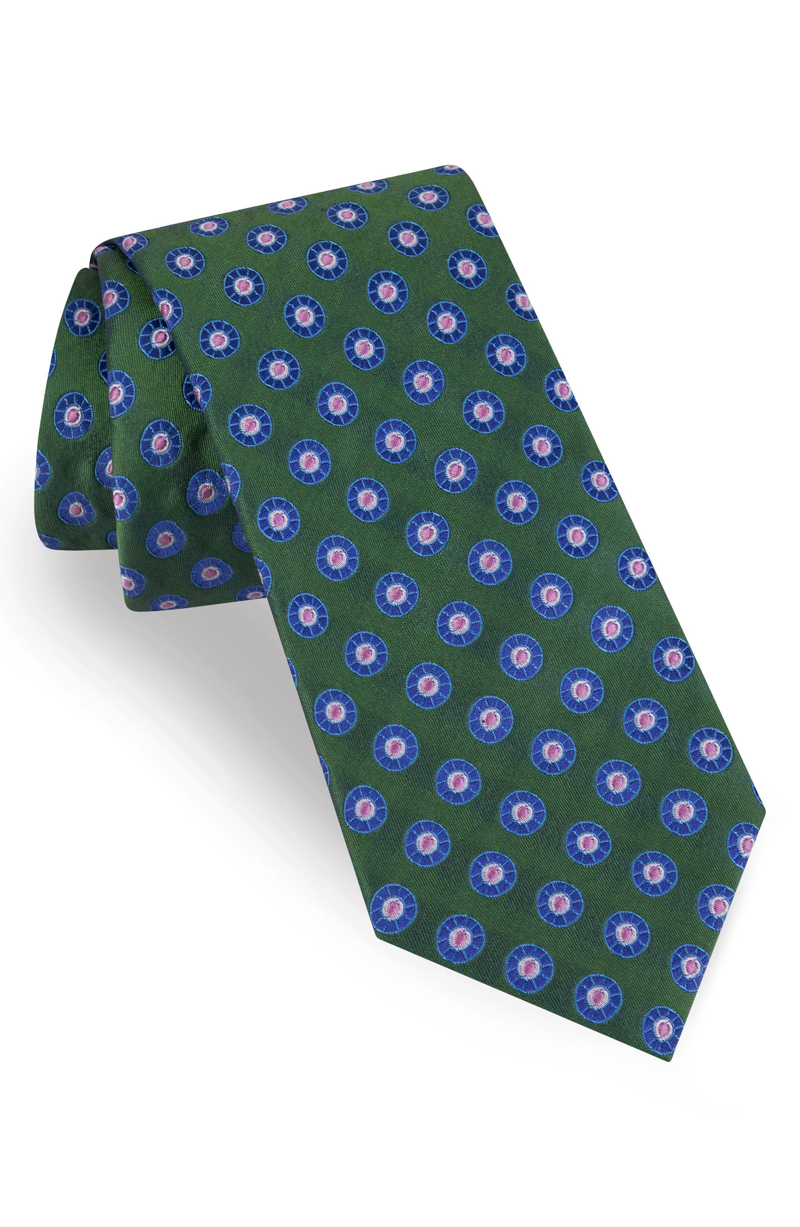 Spaced Wheel Silk Tie,                         Main,                         color, Green