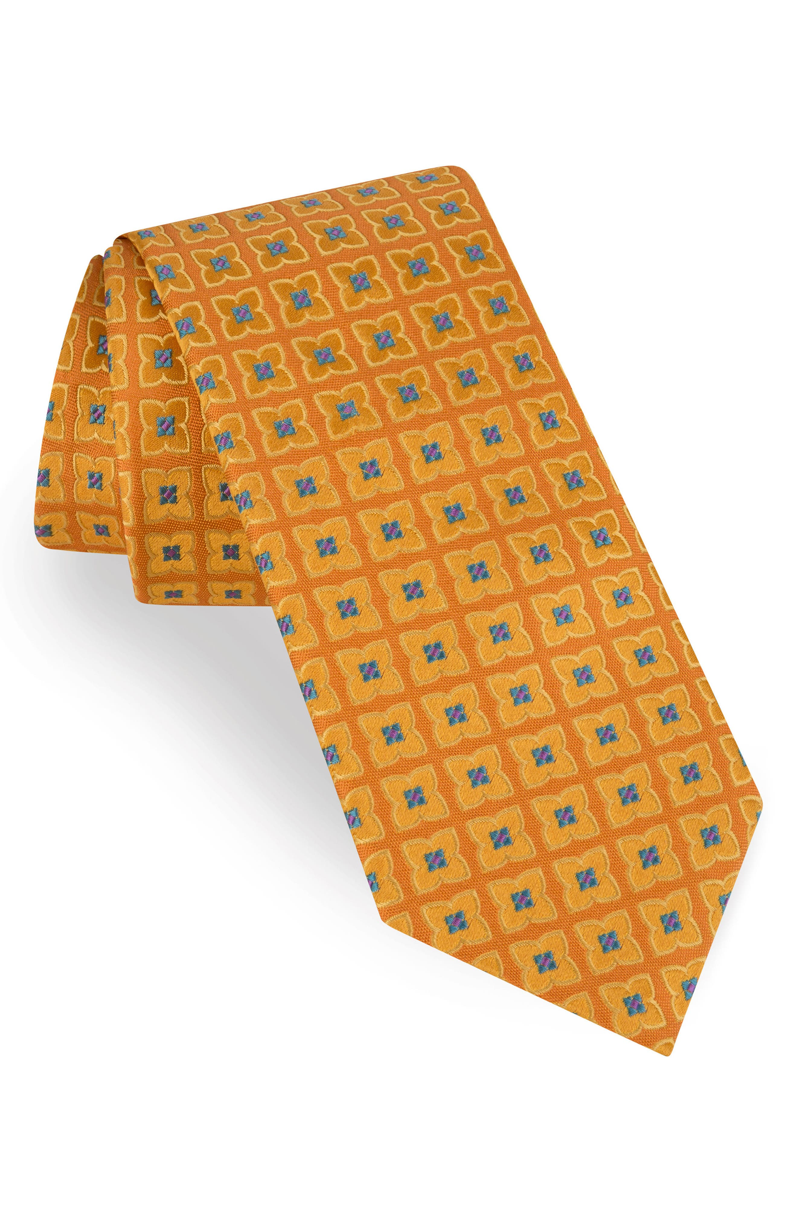 Square Flower Silk Tie,                         Main,                         color, Yellow