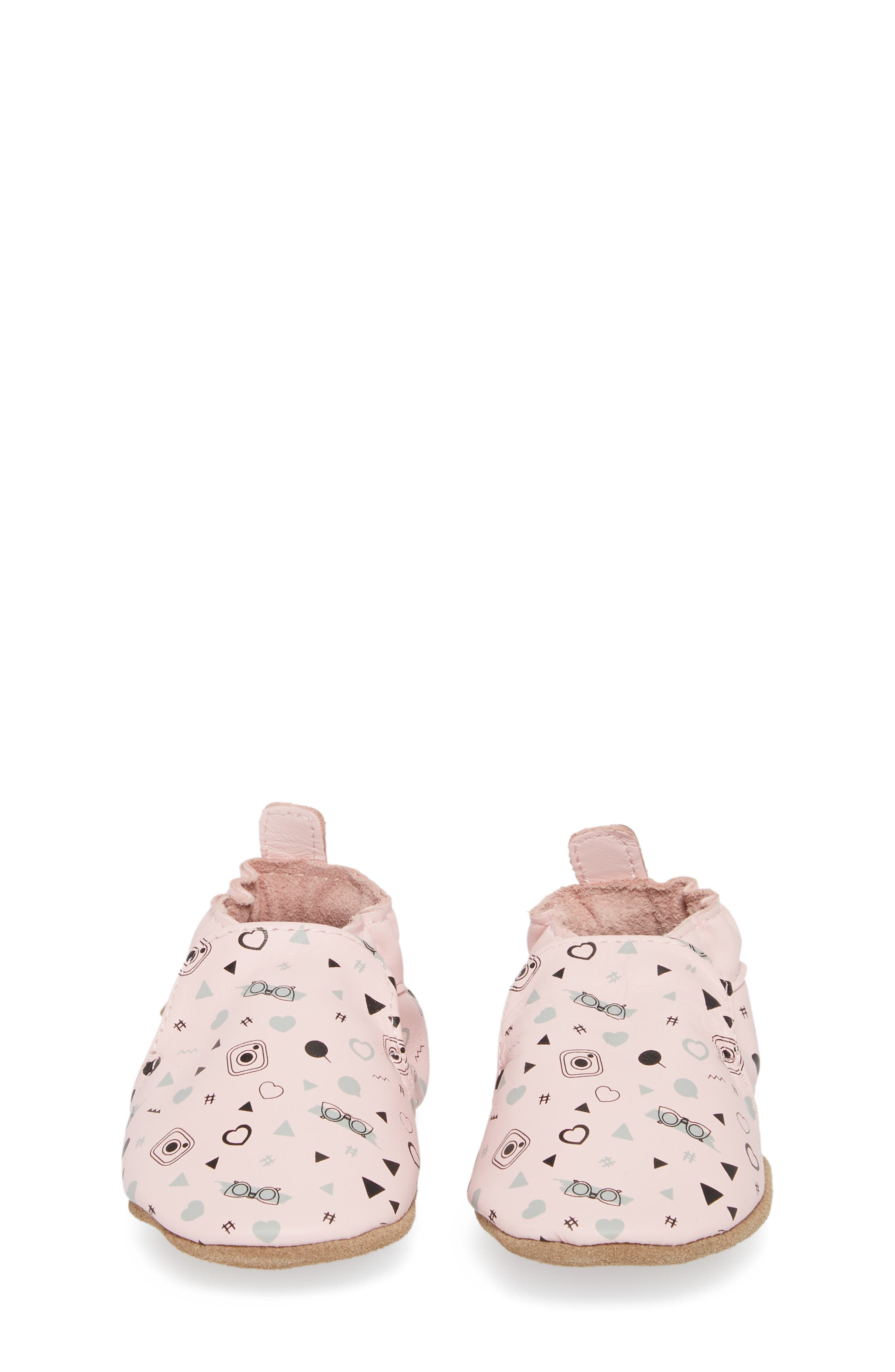 Girlygirl Moccasin Crib Shoe,                             Alternate thumbnail 5, color,                             Soft Pink