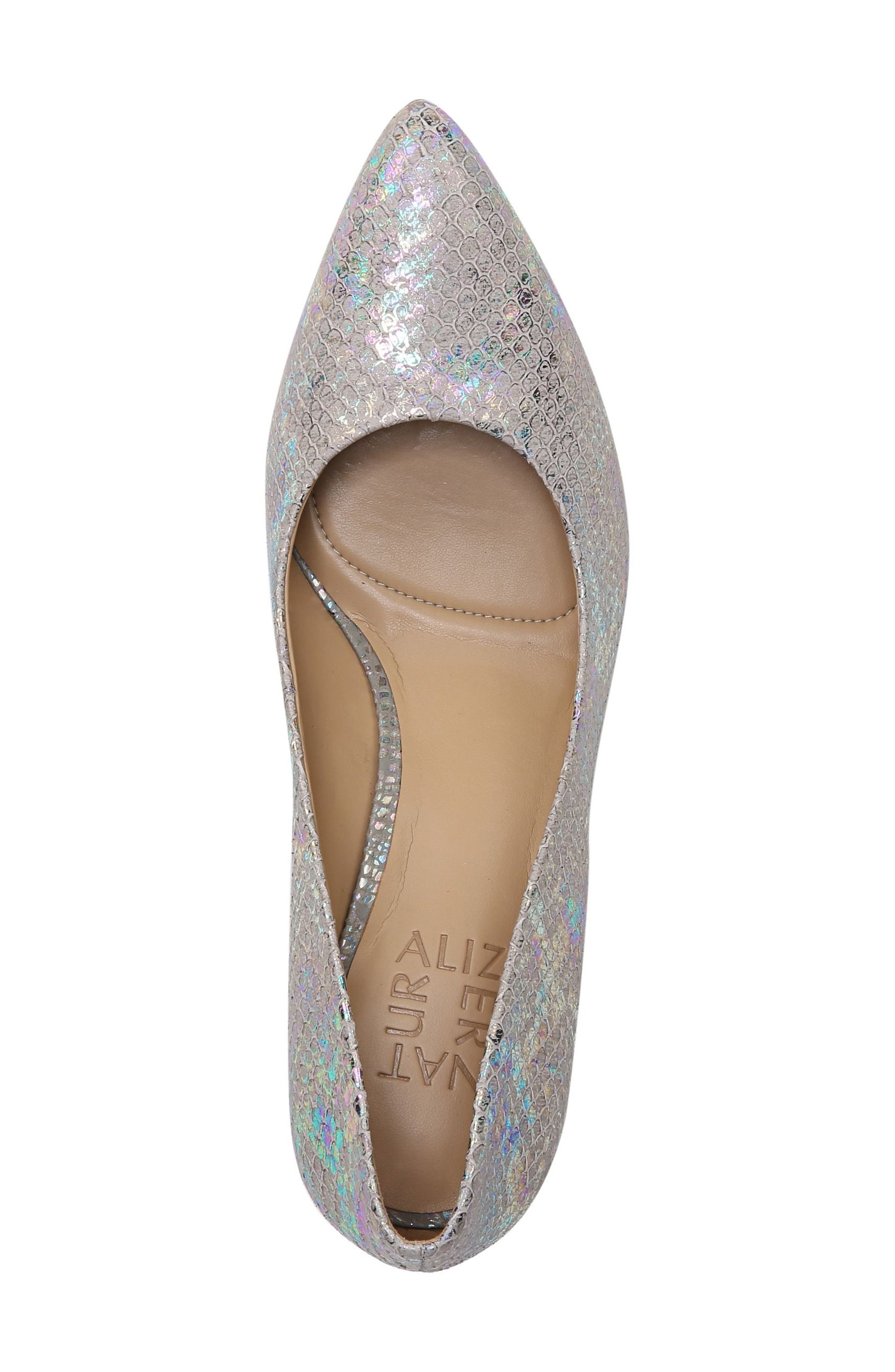 Natalie Pointy Toe Pump,                             Alternate thumbnail 5, color,                             Silver Snake Print Leather
