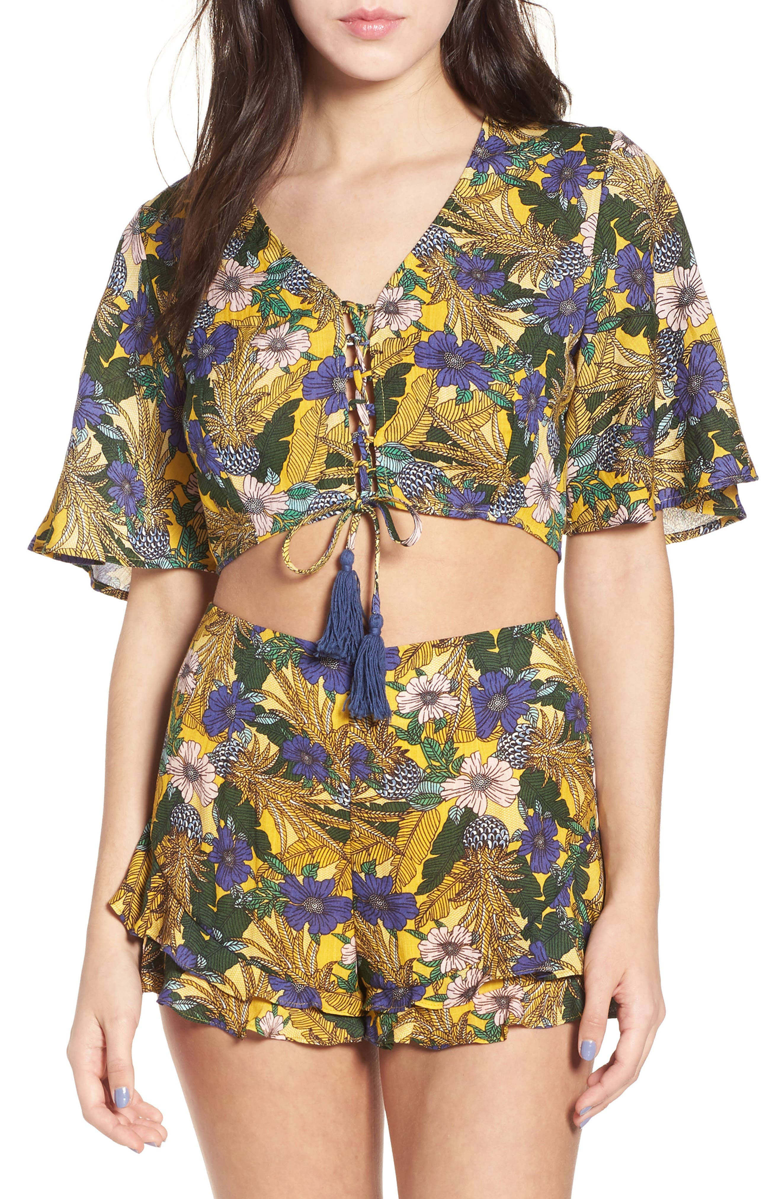 Isla Floral Print Crop Top,                         Main,                         color, Yellow Multi