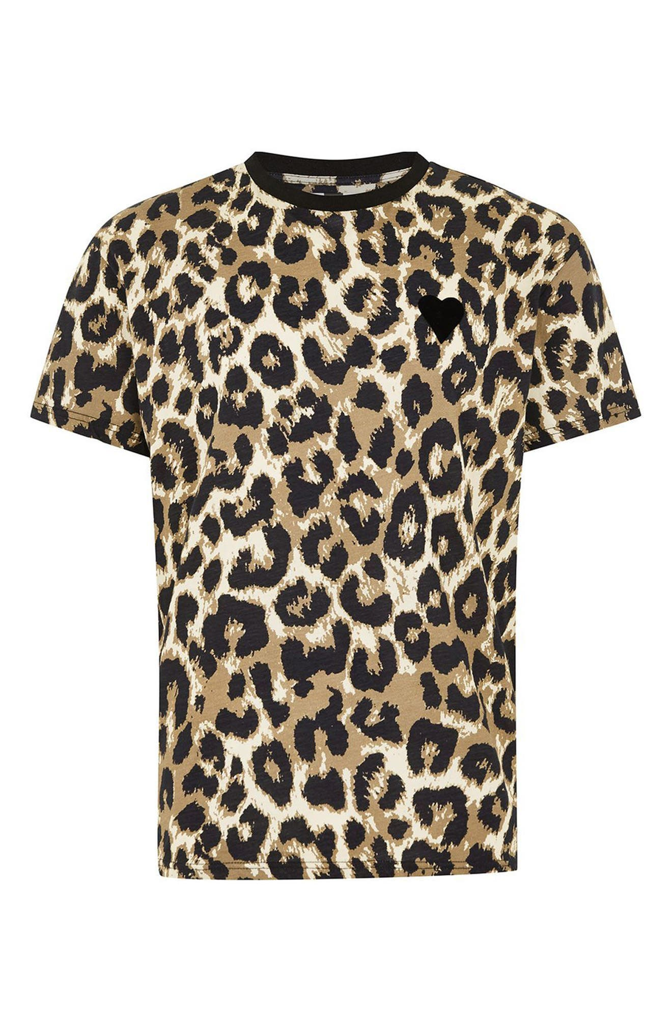 Classic Fit Leopard Print T-Shirt,                             Alternate thumbnail 4, color,                             Brown Multi