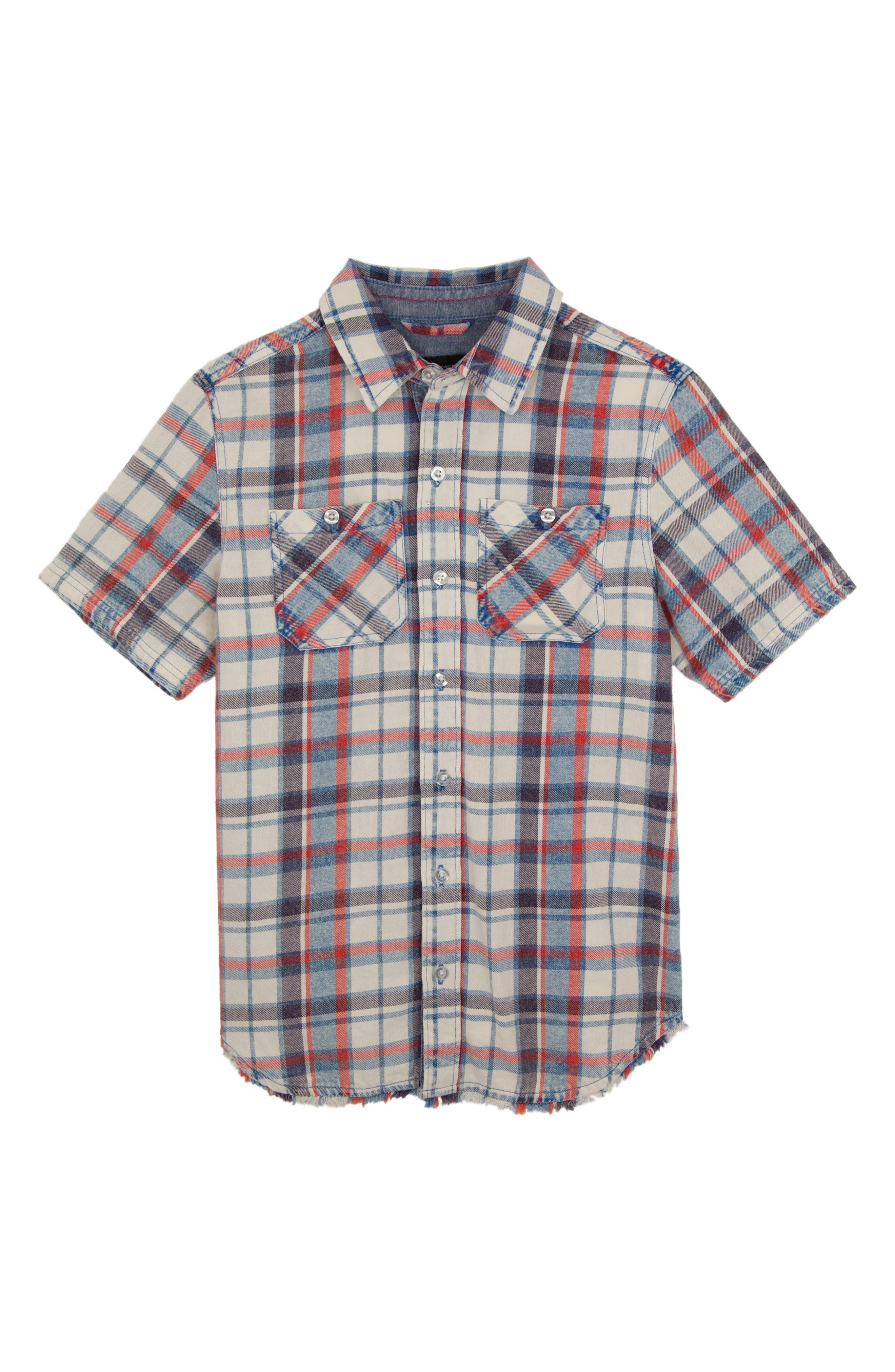 Connor Washed Plaid Chambray Shirt,                         Main,                         color, White