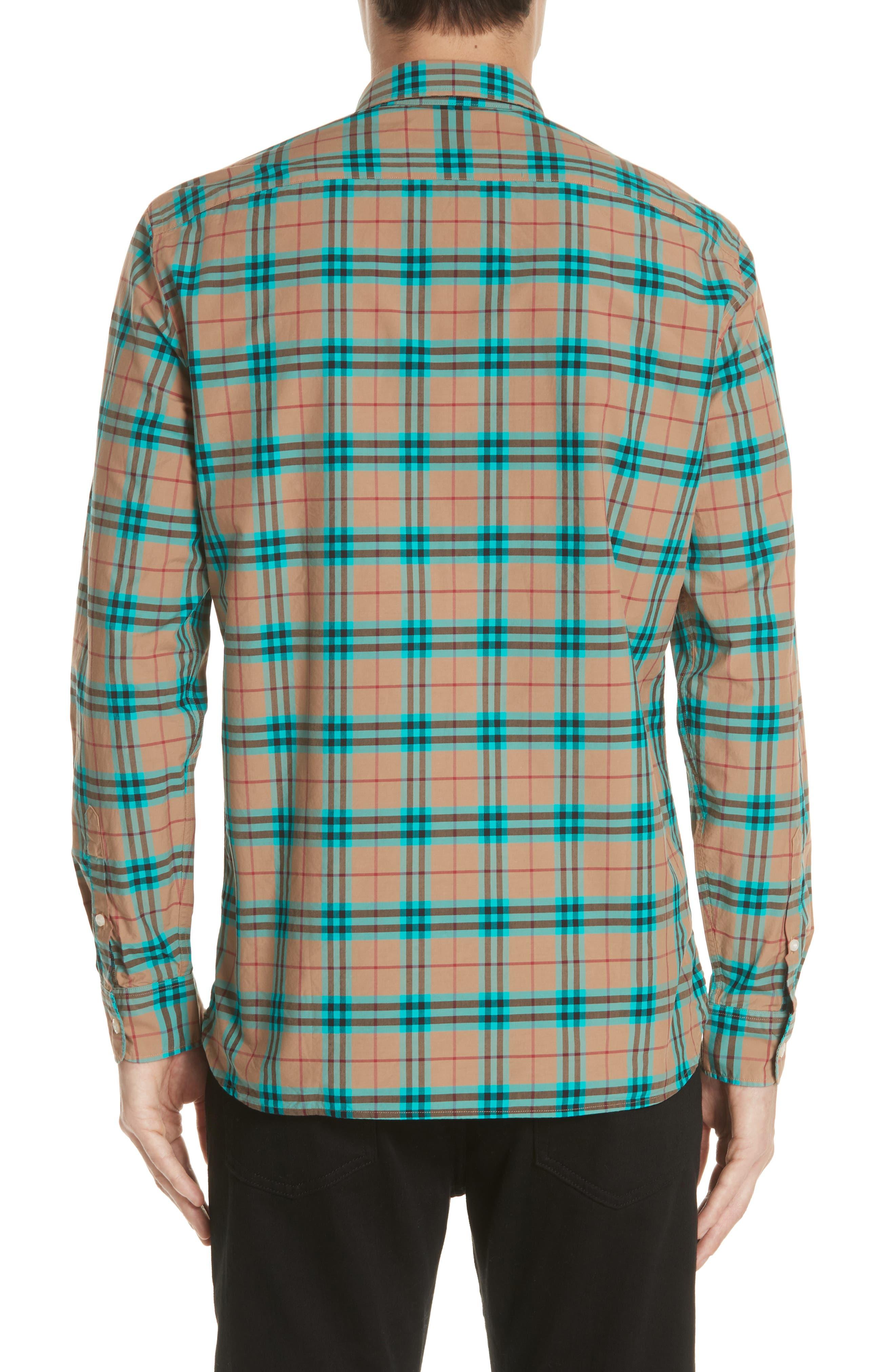 Alexander Check Sport Shirt,                             Alternate thumbnail 3, color,                             Aqua Green