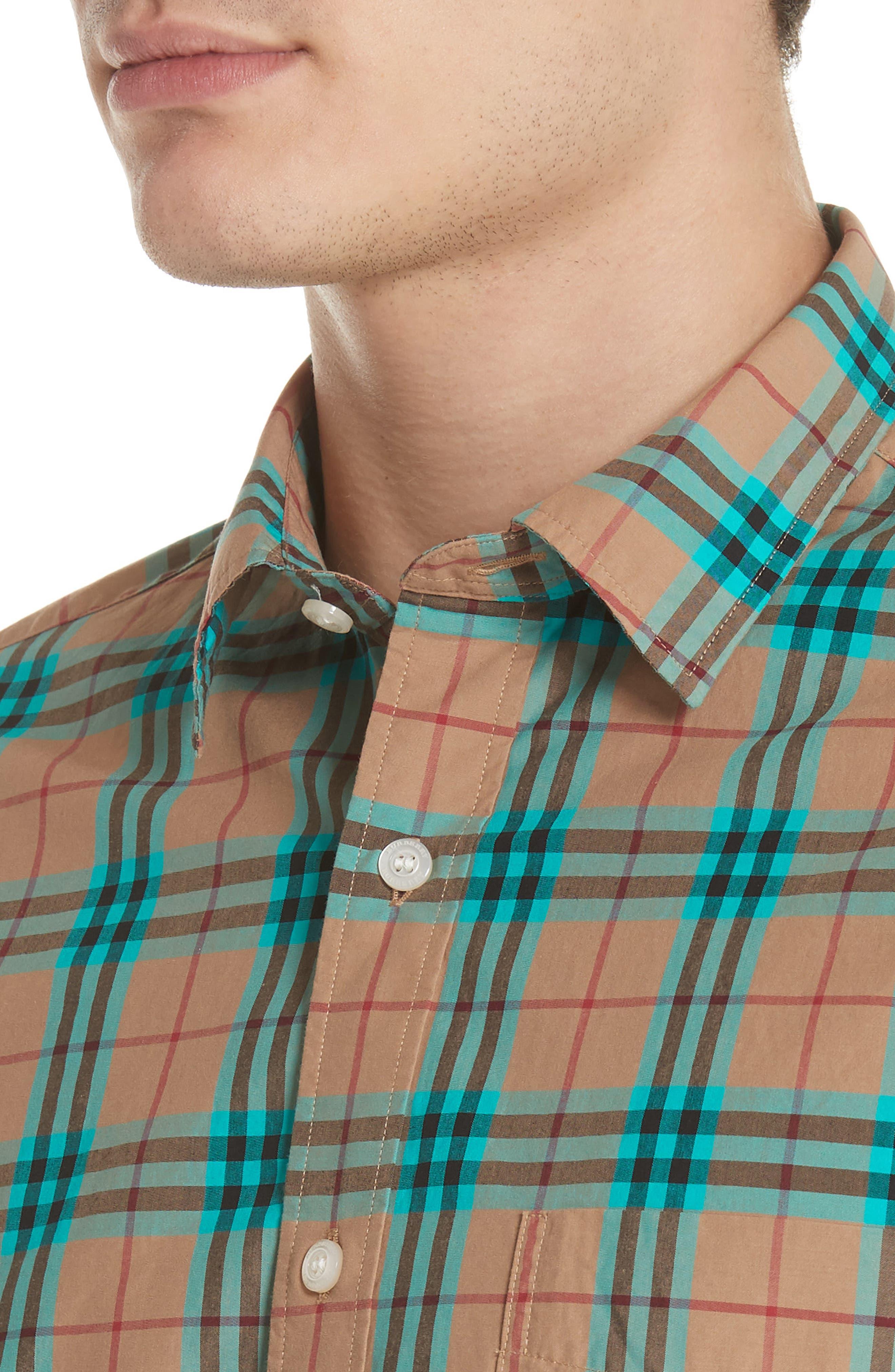 Alexander Check Sport Shirt,                             Alternate thumbnail 2, color,                             Aqua Green