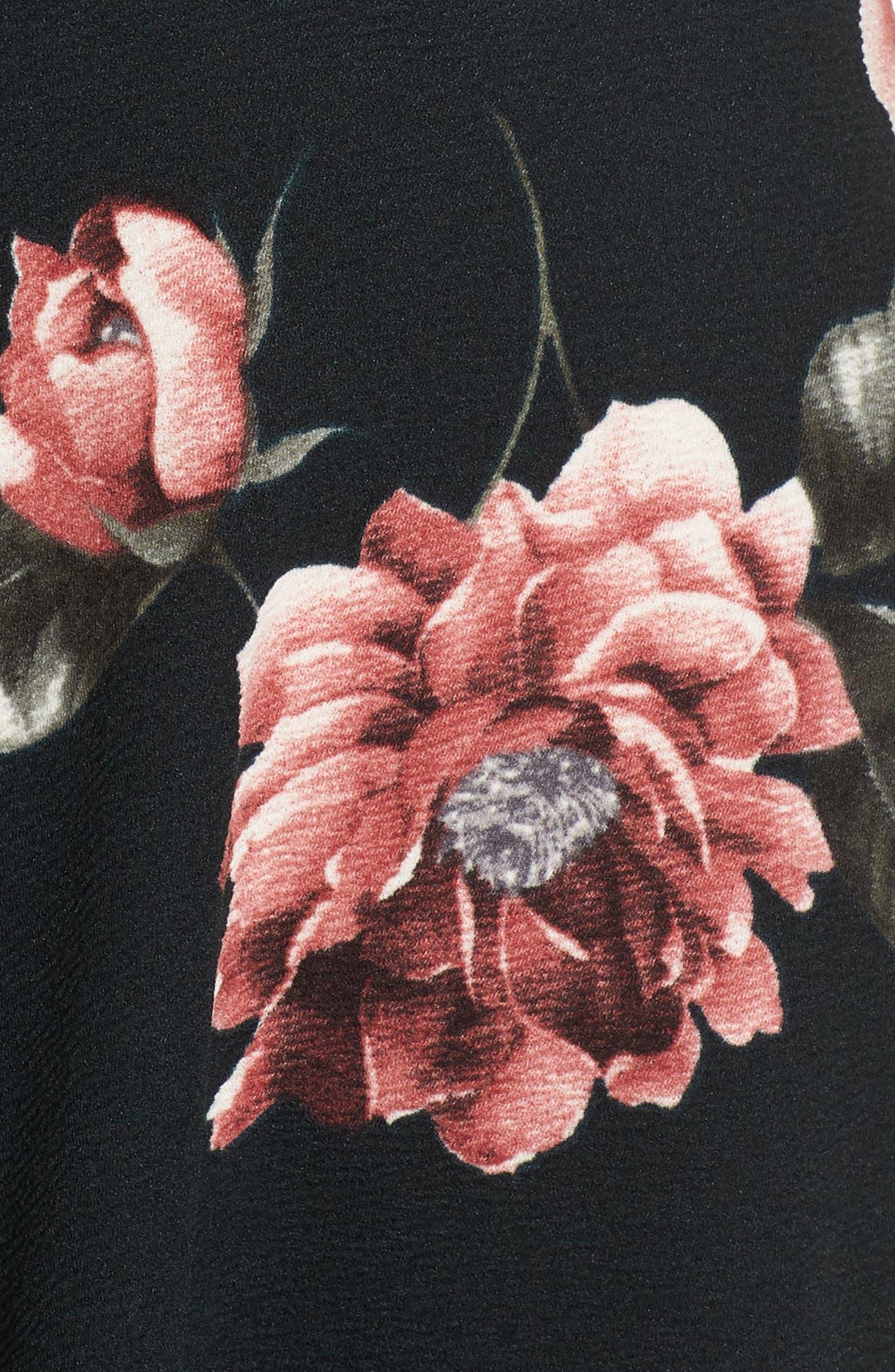 Floral Print Fit & Flare Dress,                             Alternate thumbnail 5, color,                             Pine