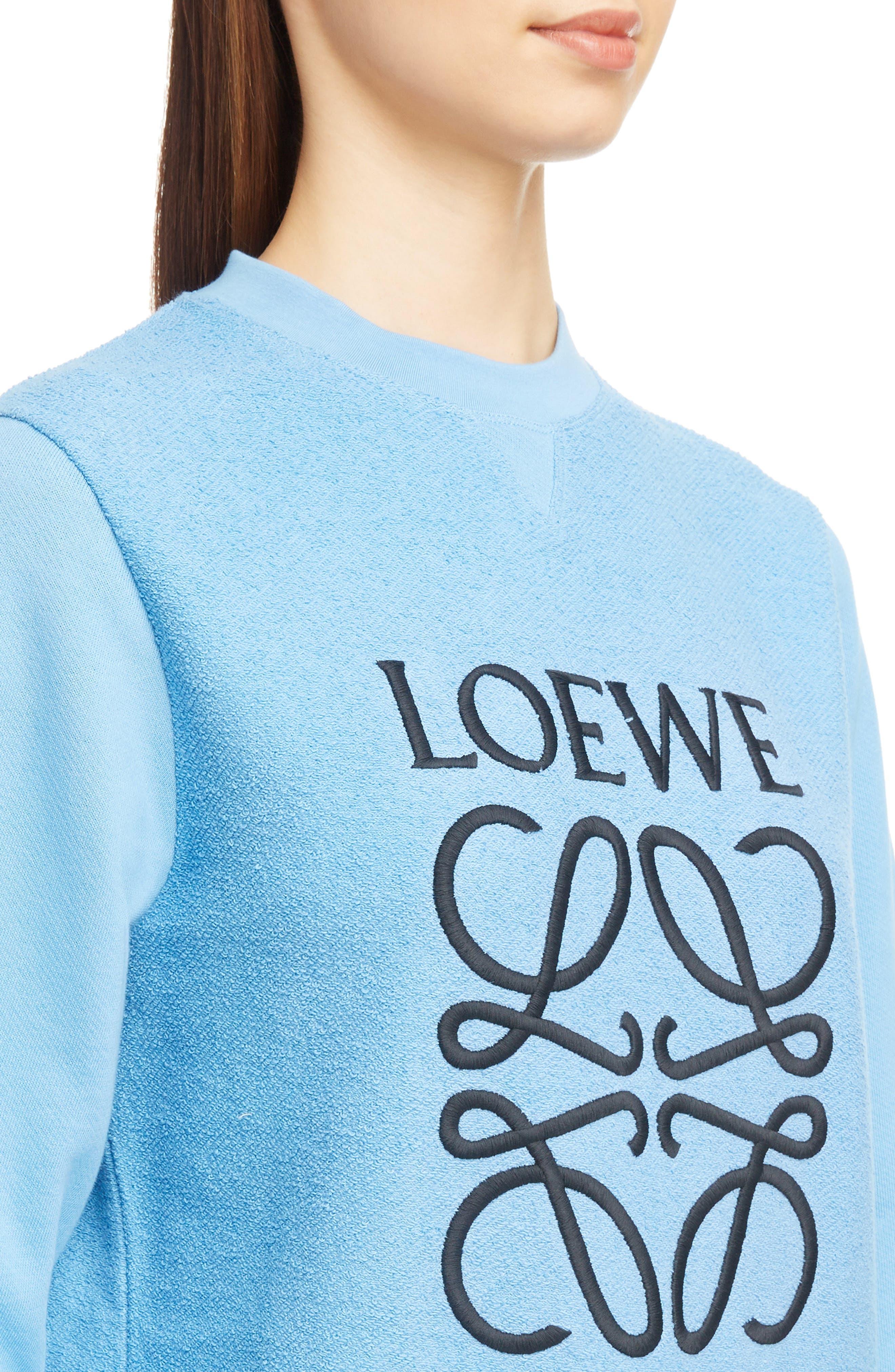 Terry Bodice Logo Sweatshirt,                             Alternate thumbnail 5, color,                             Light Blue