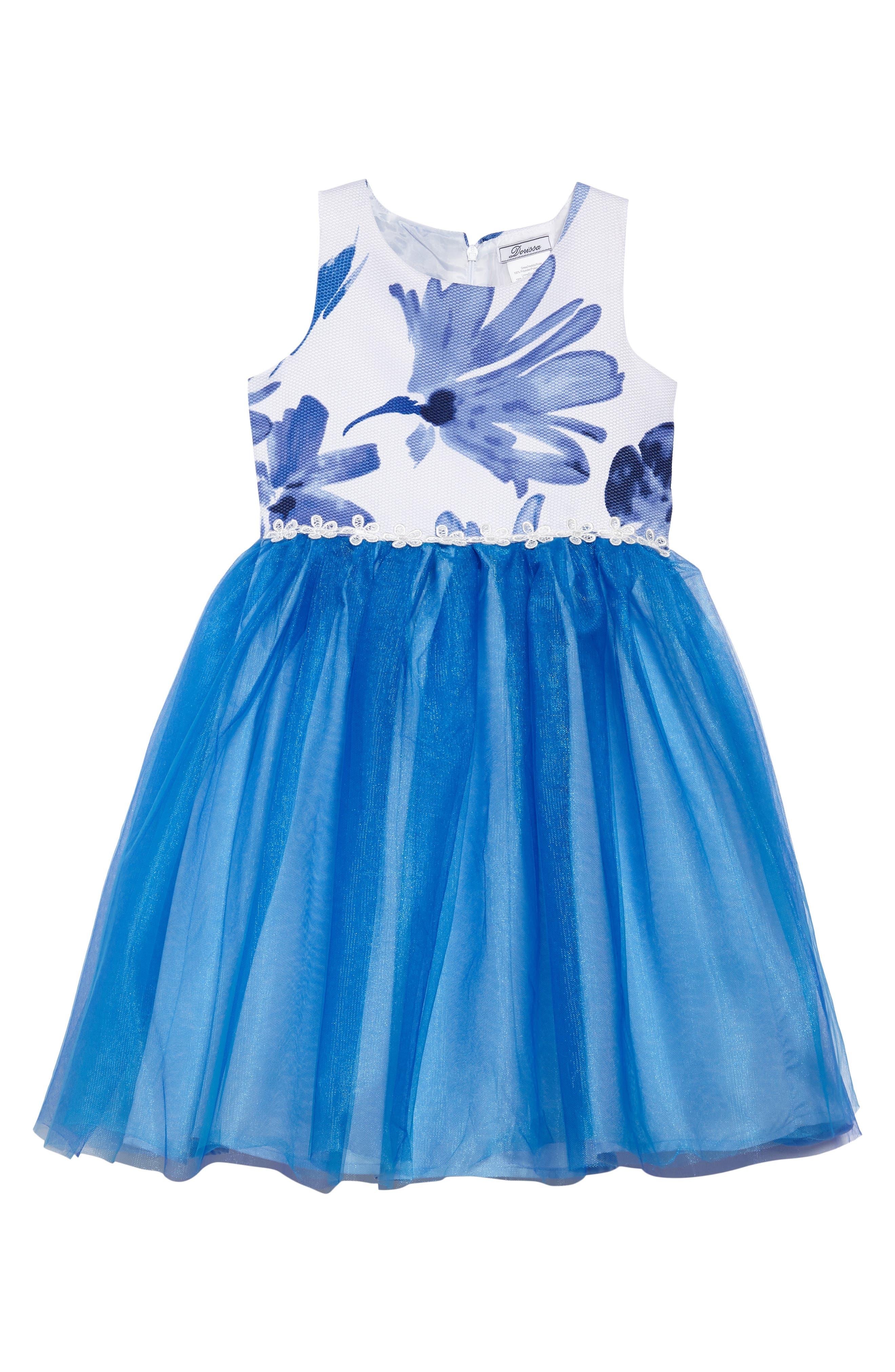 Kathy Sleeveless Dress,                         Main,                         color, Blue/ White