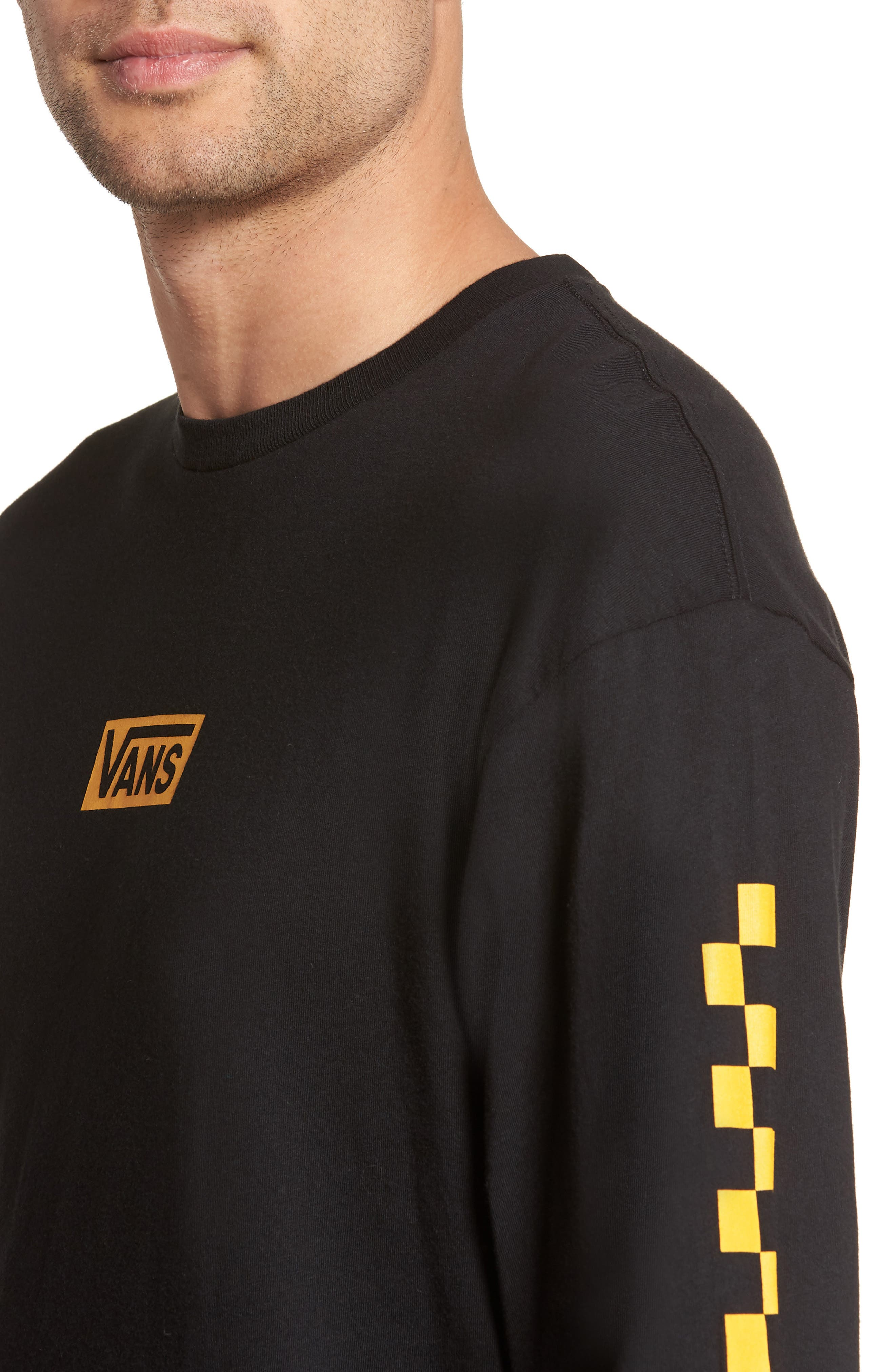 Classic Checkmate Long Sleeve T-Shirt,                             Alternate thumbnail 4, color,                             Black/ Yellow