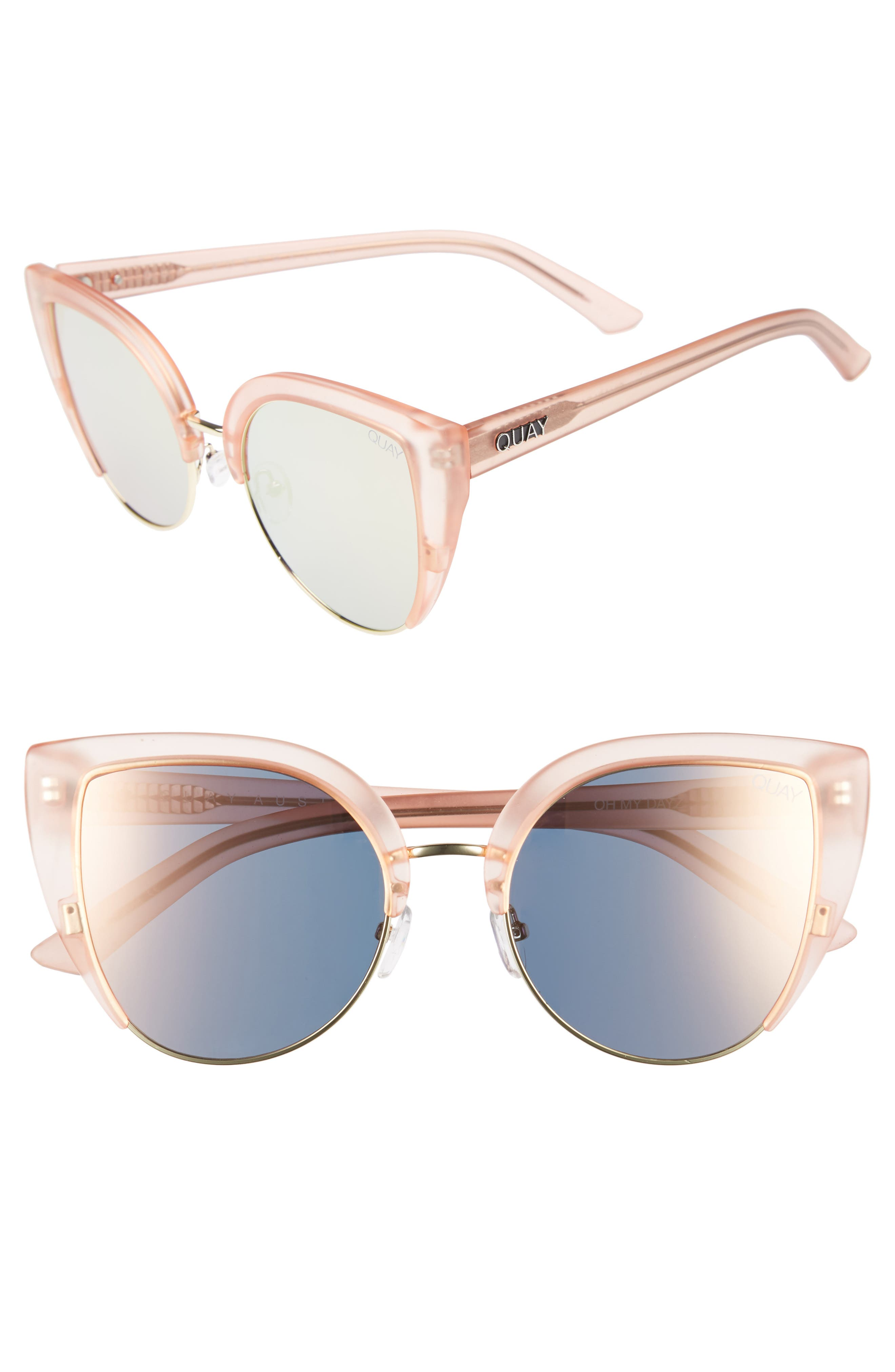 x Missguided Oh My Dayz 53mm Sunglasses,                         Main,                         color, Pink/ Gold