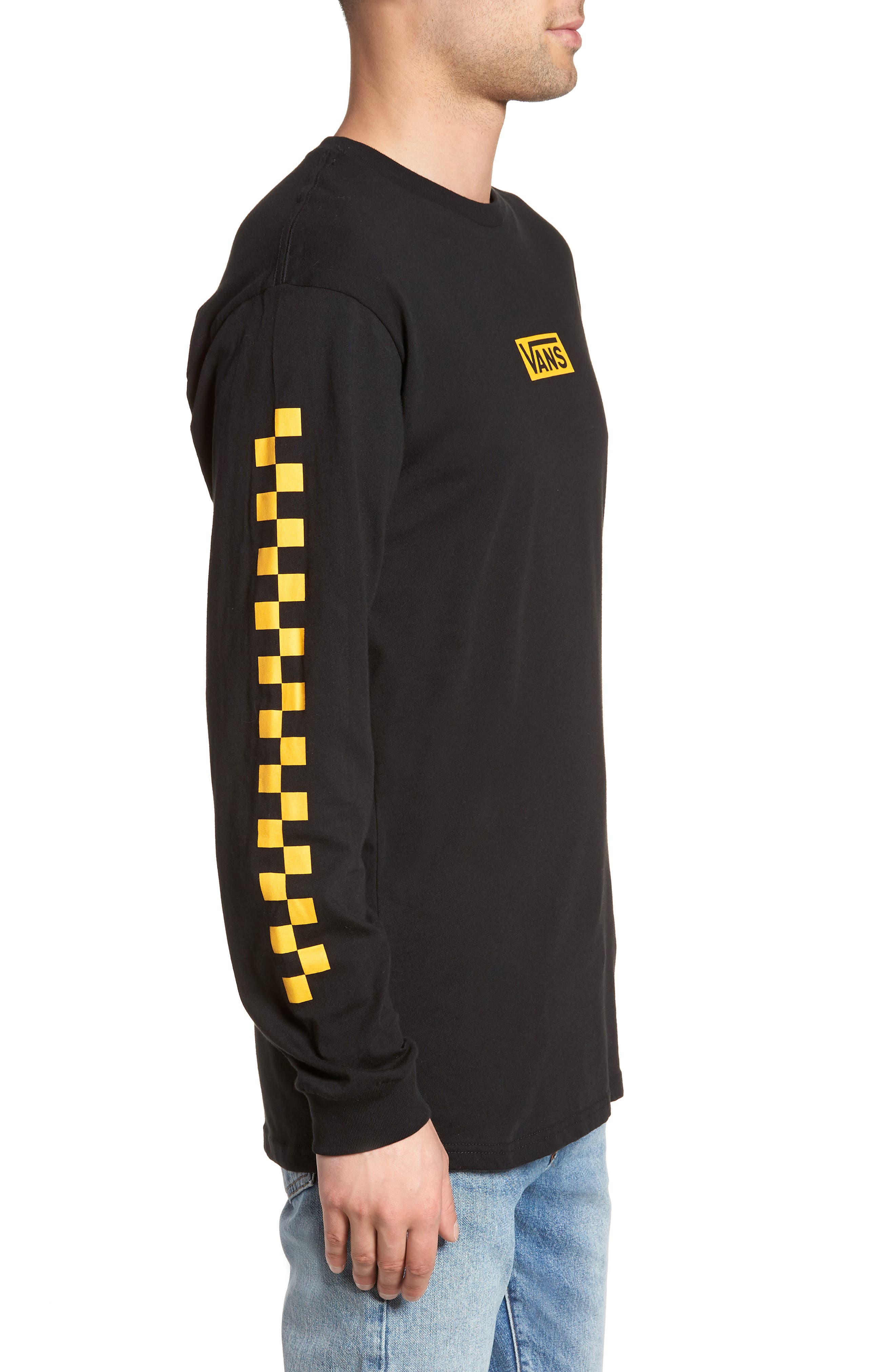 Classic Checkmate Long Sleeve T-Shirt,                             Alternate thumbnail 3, color,                             Black/ Yellow