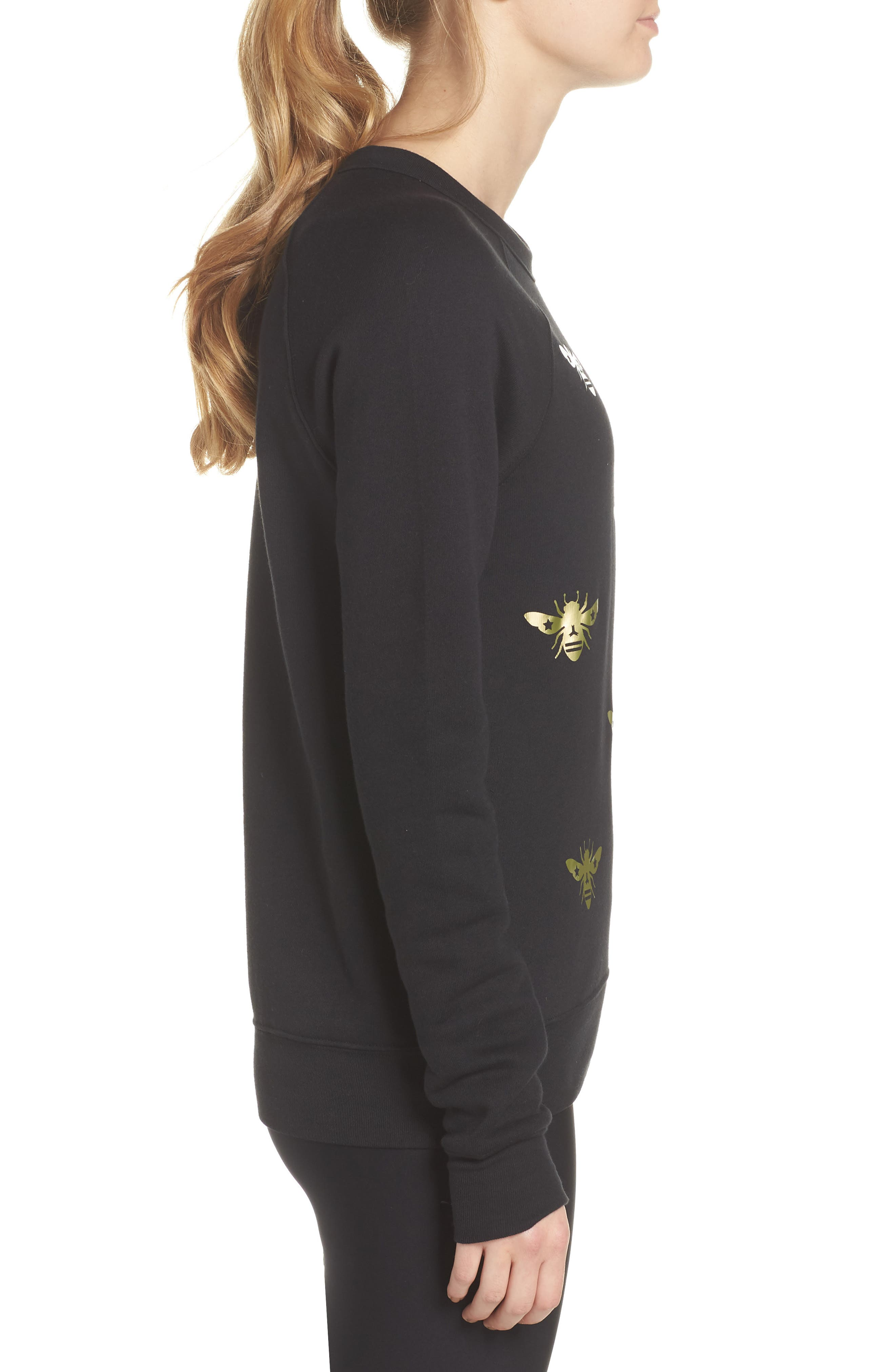 Bee Sweatshirt,                             Alternate thumbnail 3, color,                             Nero/ Gold