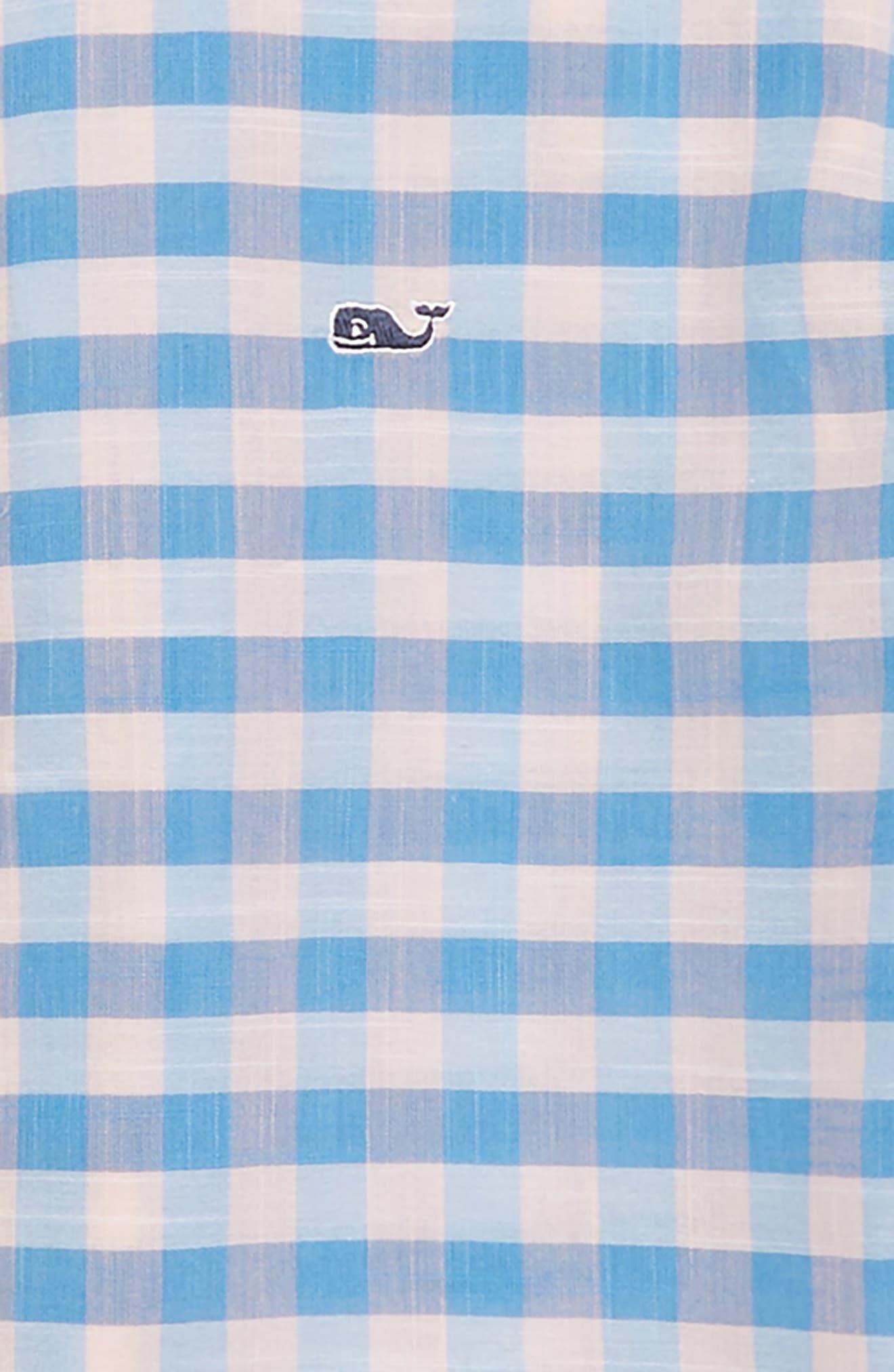 Pelican Cay Beach Check Woven Shirt,                             Alternate thumbnail 2, color,                             Peachy