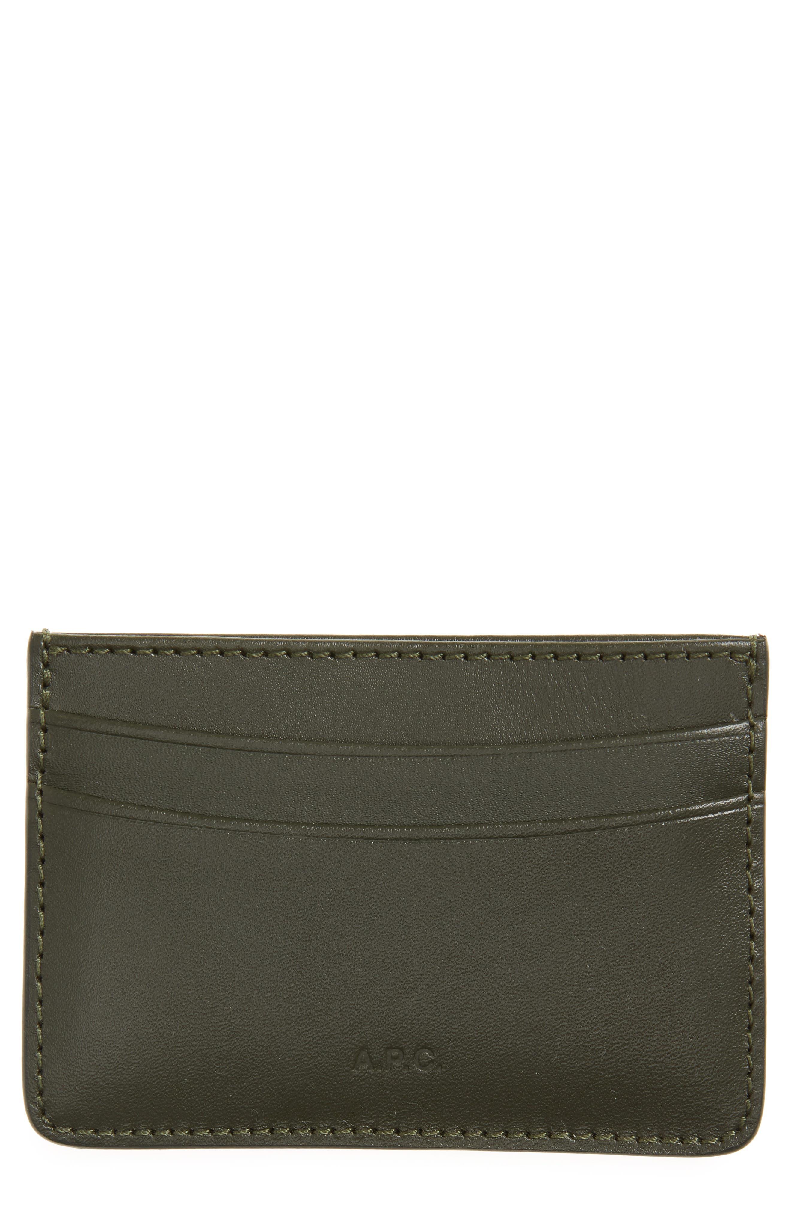 Andre Leather Card Case,                         Main,                         color, Khaki