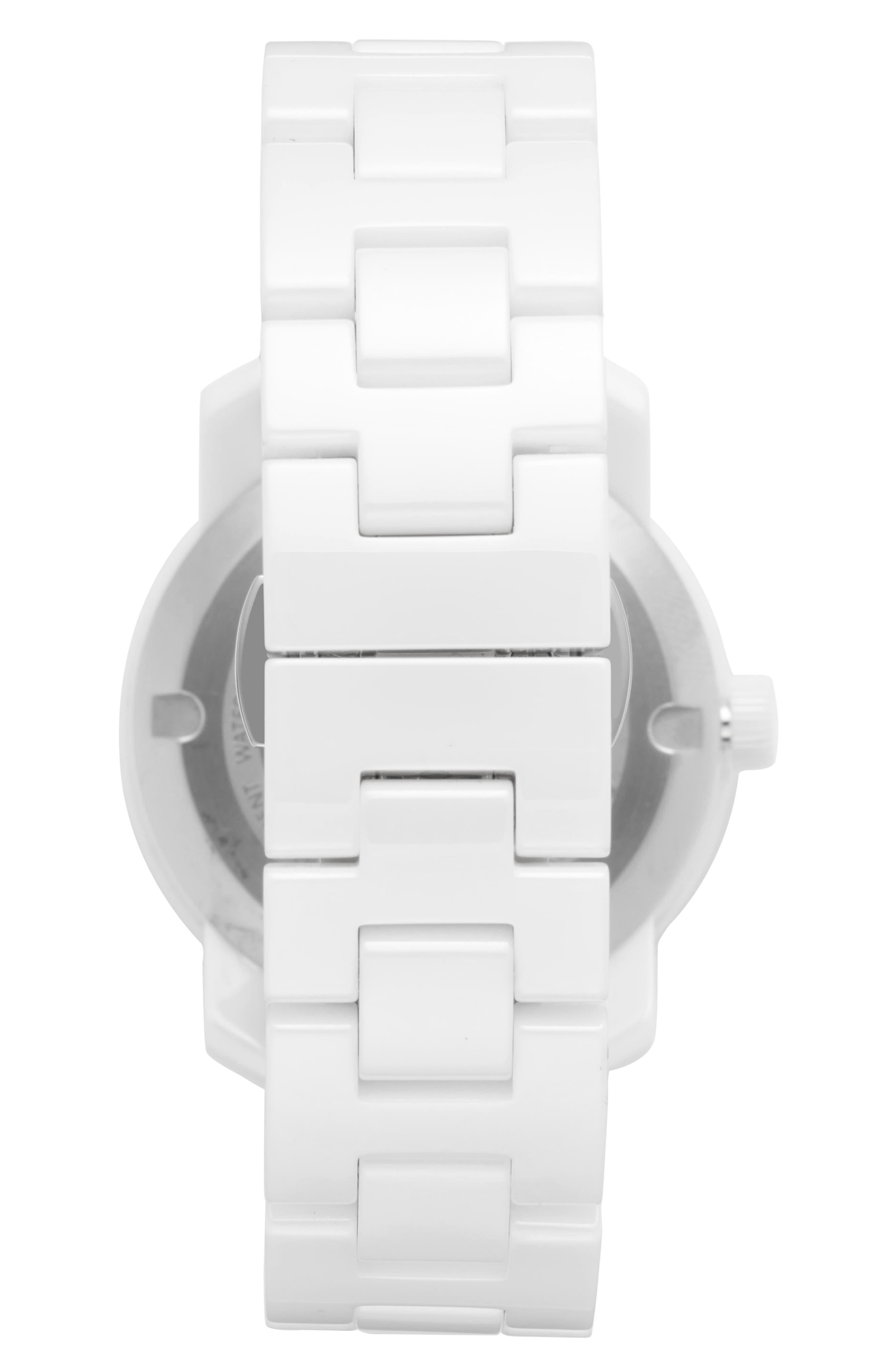 Bold Ceramic Bracelet Watch, 36mm,                             Alternate thumbnail 3, color,                             White
