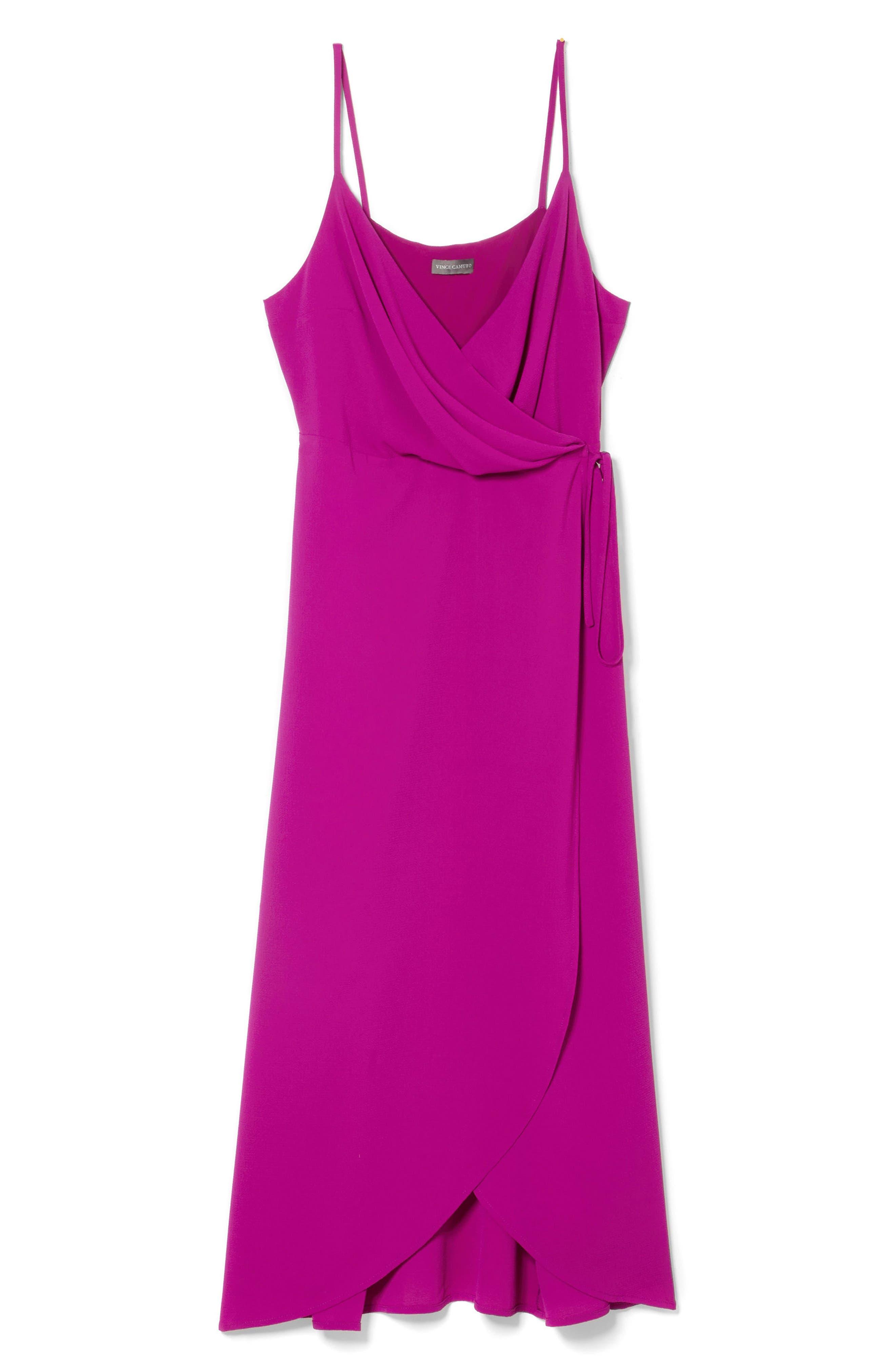 Soft Texture Faux Wrap Midi Dress,                             Alternate thumbnail 3, color,                             Fuchsia Fury