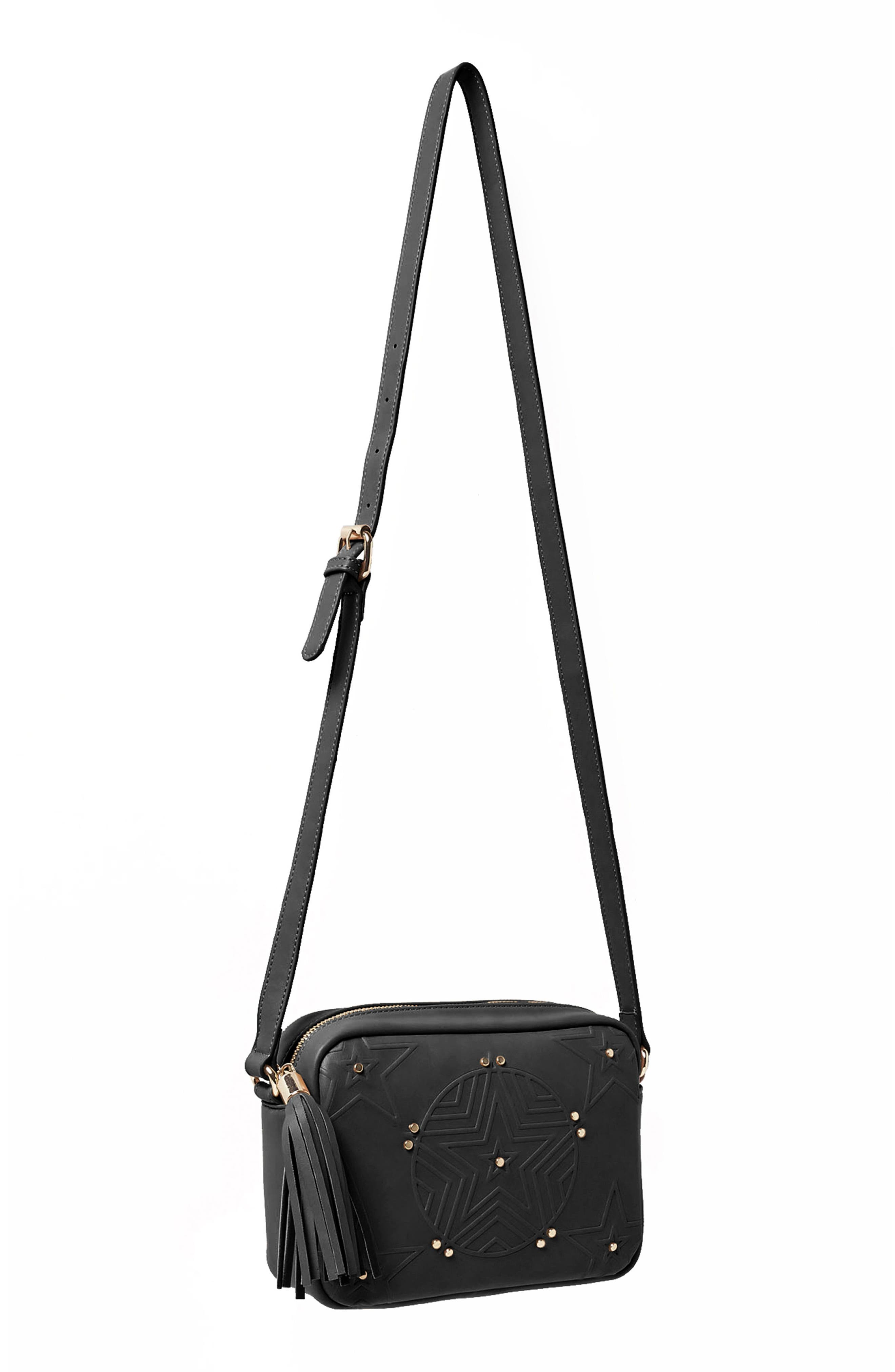 Stargazer Vegan Leather Crossbody Bag,                             Alternate thumbnail 3, color,                             Black